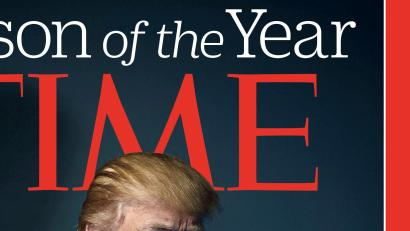 U.S. President-elect Donald Trump poses on the cover of Time Magazine after being named its person of the year