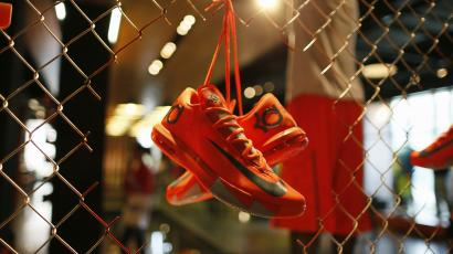 cheap for discount e89b0 c6bf8 Shoes are displayed in the Nike store in Santa Monica, California,  September 25,