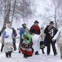 "People dance and sing Christmas carols, known locally as ""Kolyadki"", in the village of Noviny"