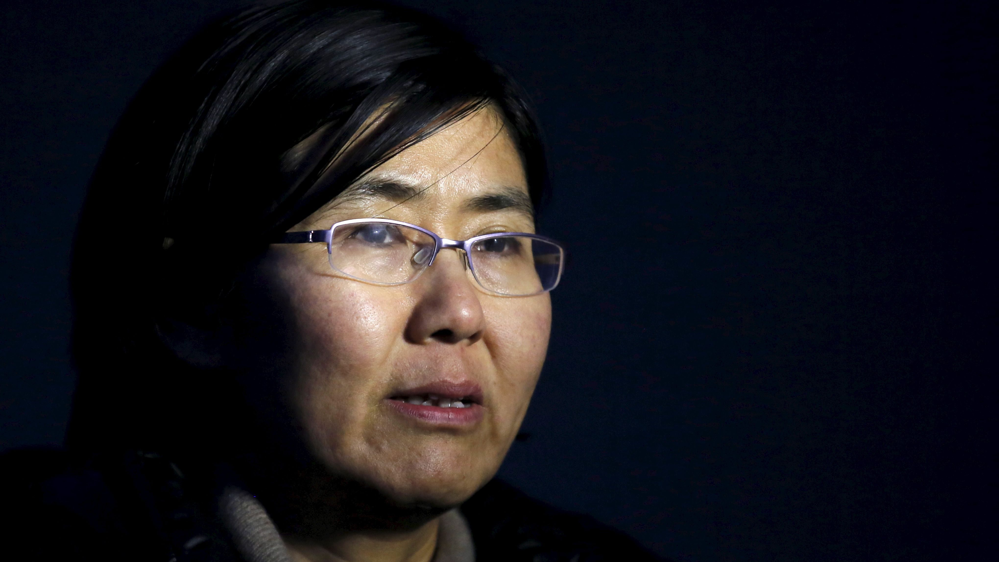 """Human rights lawyer Wang Yu talks during an interview with Reuters in Beijing in this March 1, 2014 photo. China's state media last month accused Wang, the country's most prominent female human rights lawyer, of """"blabbering about the rule of law and human rights.""""  State media said on July 11, 2015 police had criminally detained Wang and some colleagues. Four lawyers taken in for questioning said police had warned them not to advocate for Wang, according to accounts by them and other activists. Picture taken on March 1, 2014."""