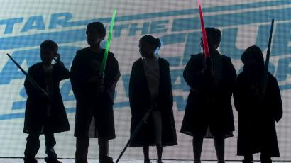 Children dressed as Jedi characters from Star Wars
