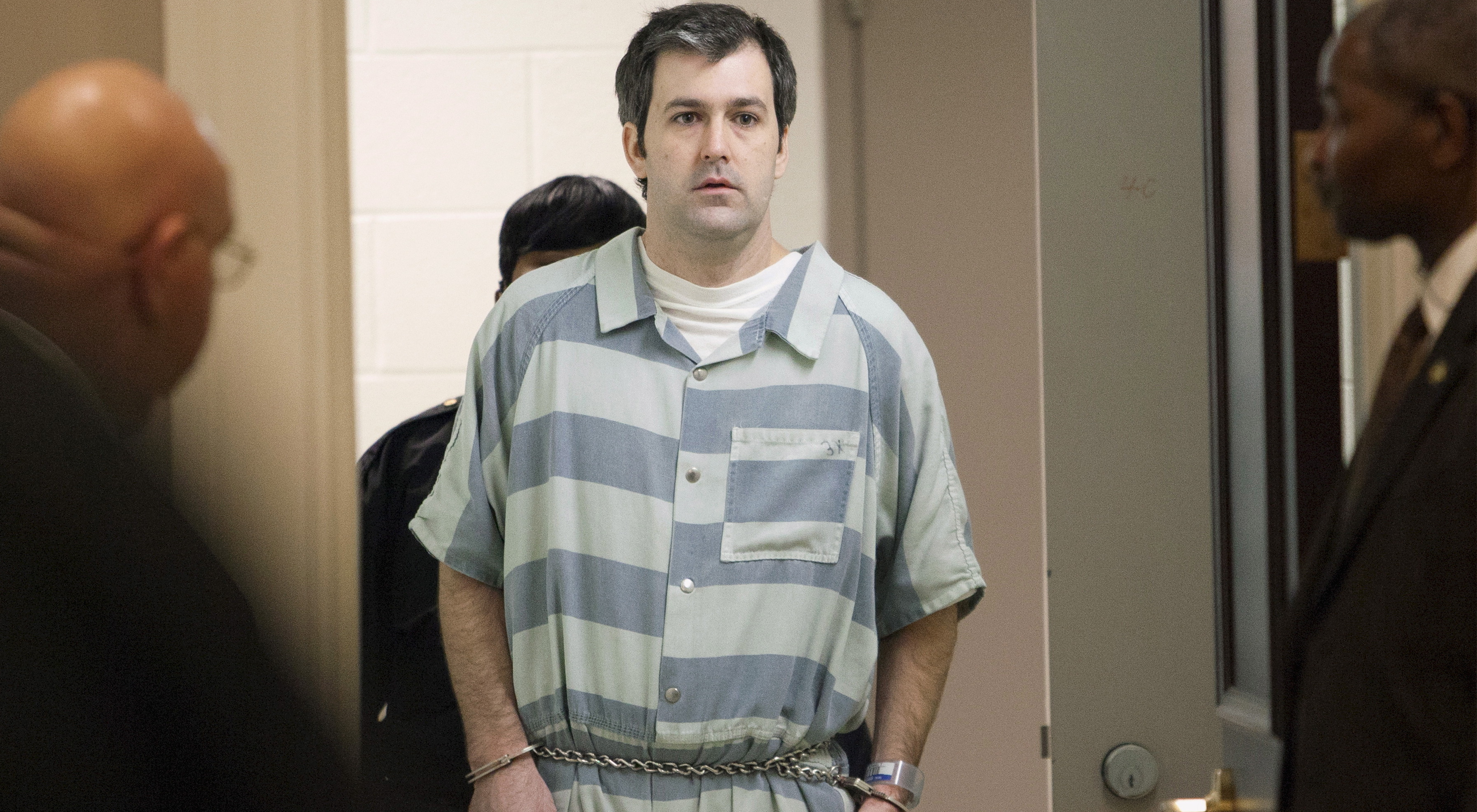 Former police officer Michael Slager walks to the defense table bond hearing in Charleston, South Carolina, United States on September 10, 2015. Slager has been indicted on federal charges in connection with the April 2015 shooting death of black motorist Walter Scott in North Charleston, South Carolina, according to court documents unsealed on May 11, 2016.