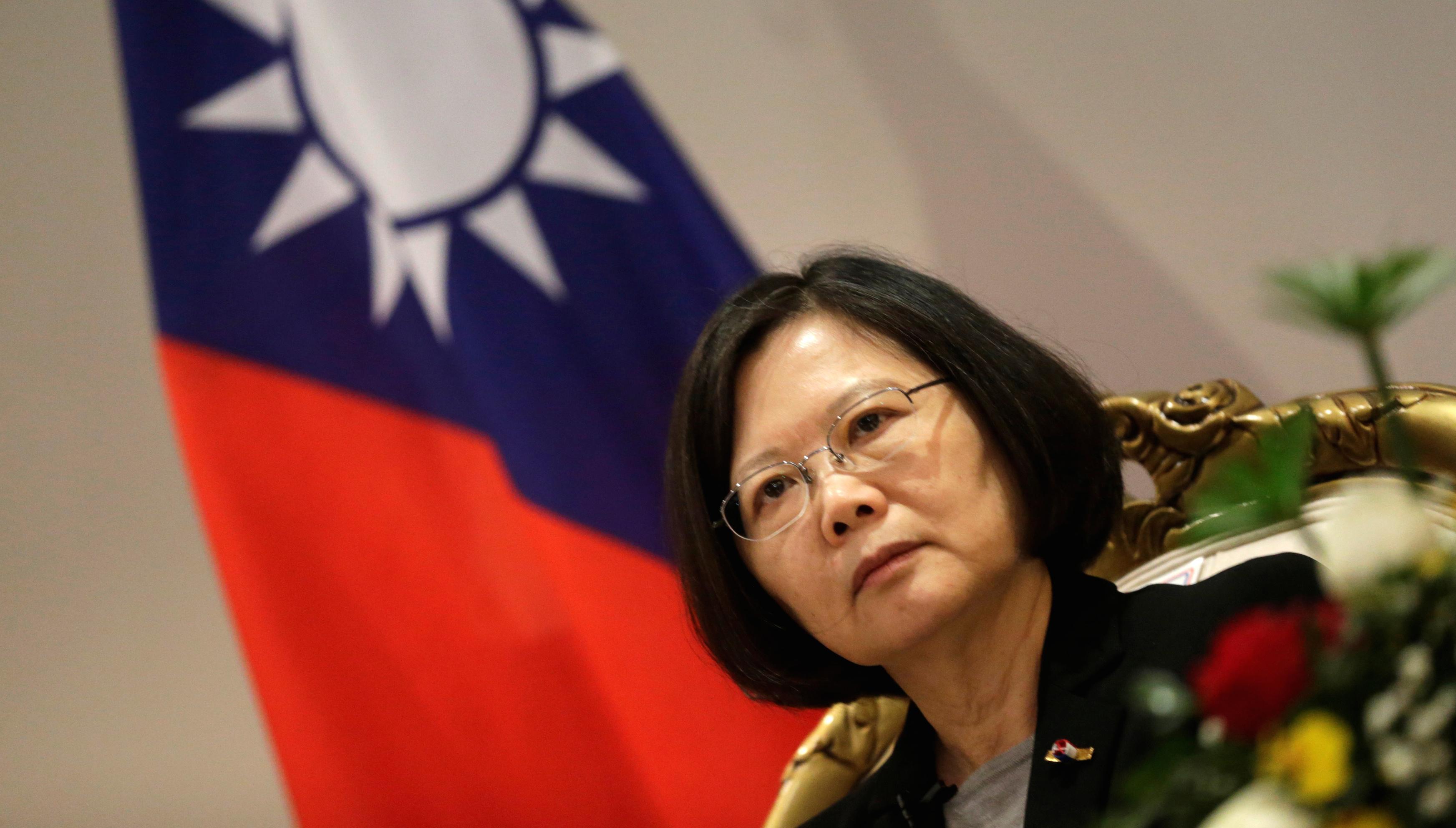 Taiwan's President Tsai Ing-wen speaks during an interview