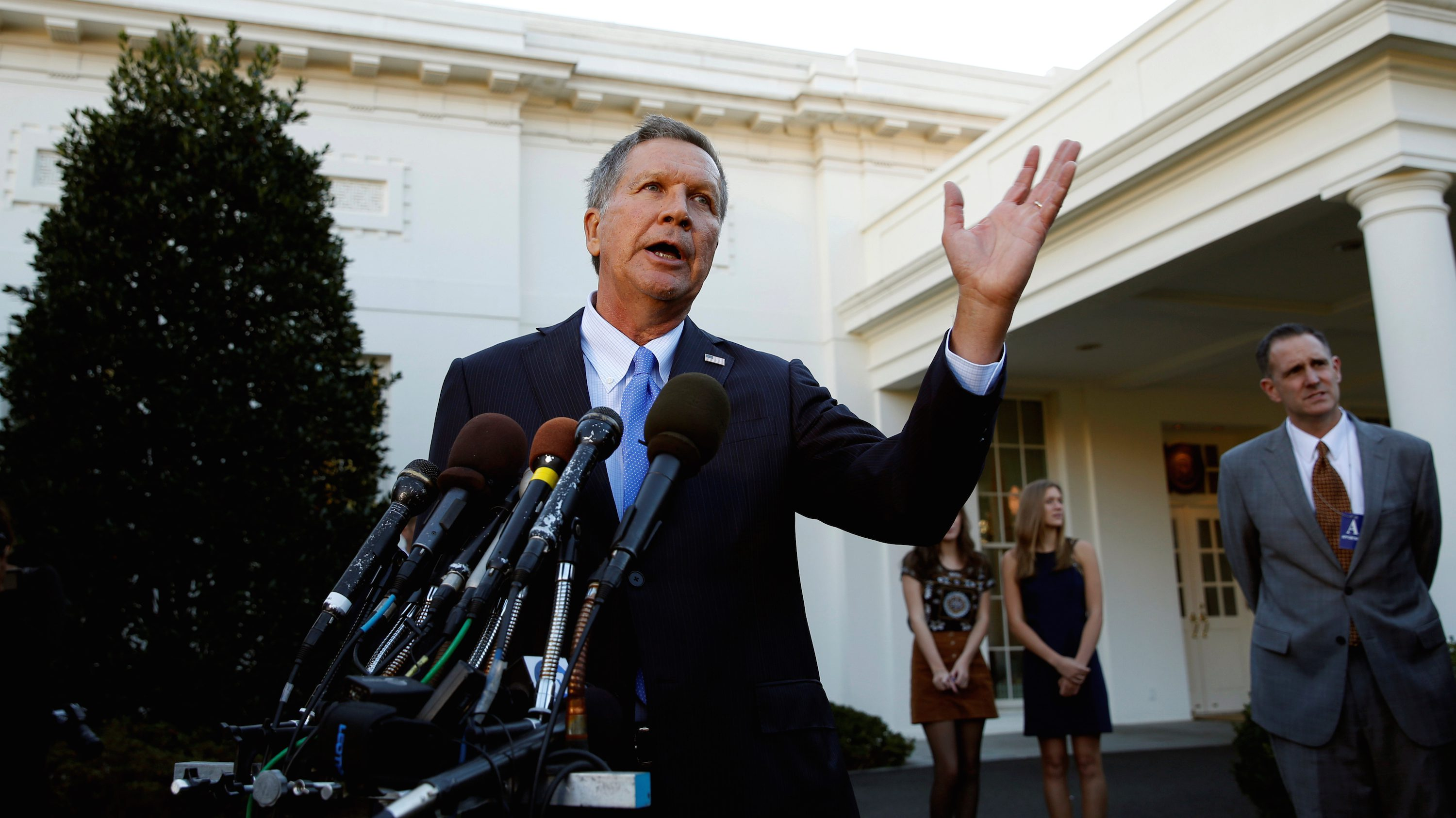 Ohio Governor and former presidential candidate John Kasich speaks to reporters after an event honoring the Cleveland Cavaliers, the 2016 NBA championship team, at the White House in Washington November 10, 2016.