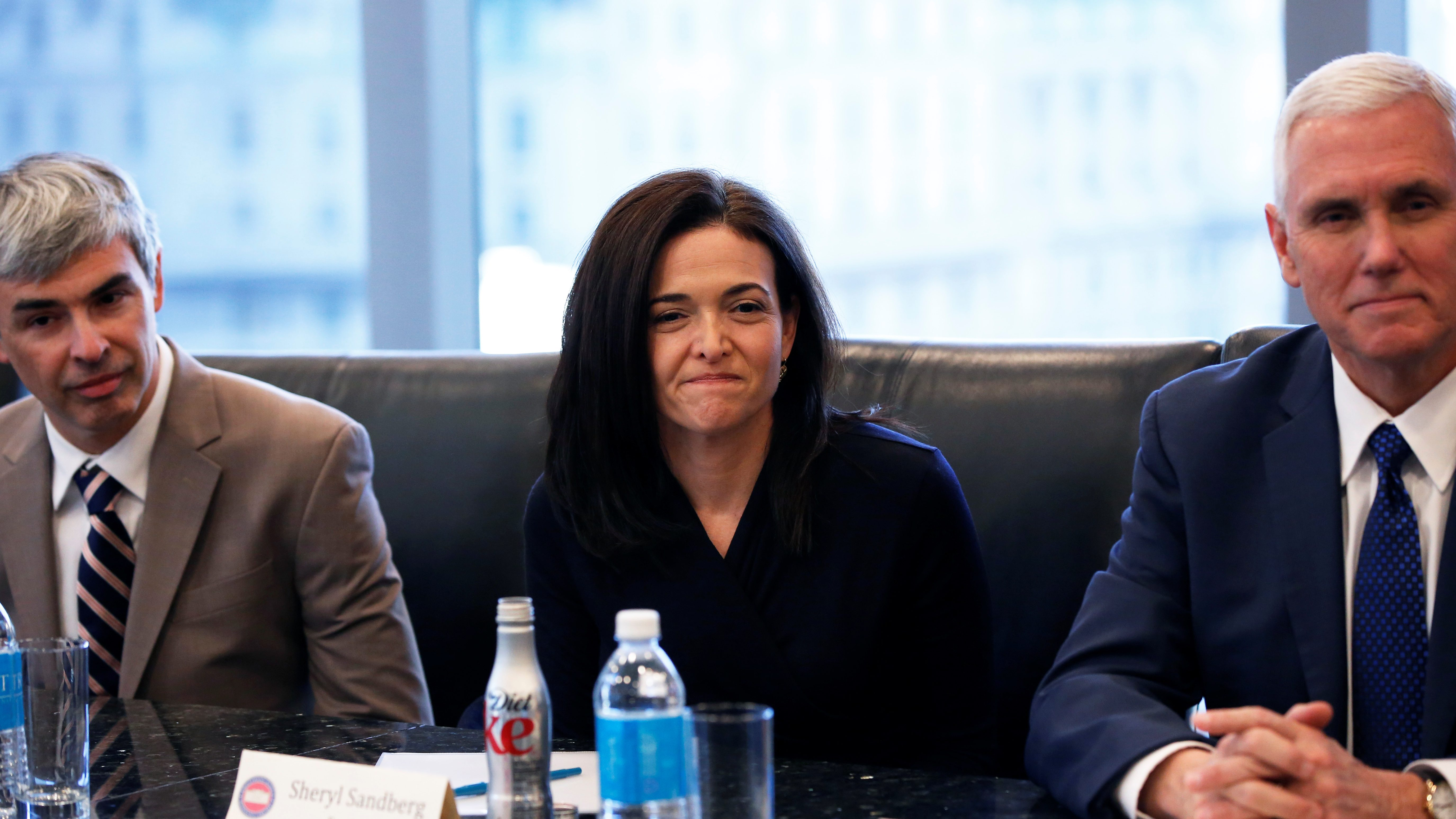 (L-R) Larry Page, CEO and Co-founder of Alphabet, Sheryl Sandberg, Chief Operating Officer of Facebook, and Vice President-elect Mike Pence sit during a meeting with U.S. President-elect Donald Trump and technology leaders at Trump Tower in New York U.S., December 14, 2016. REUTERS/Shannon Stapleton - RTX2V2C5