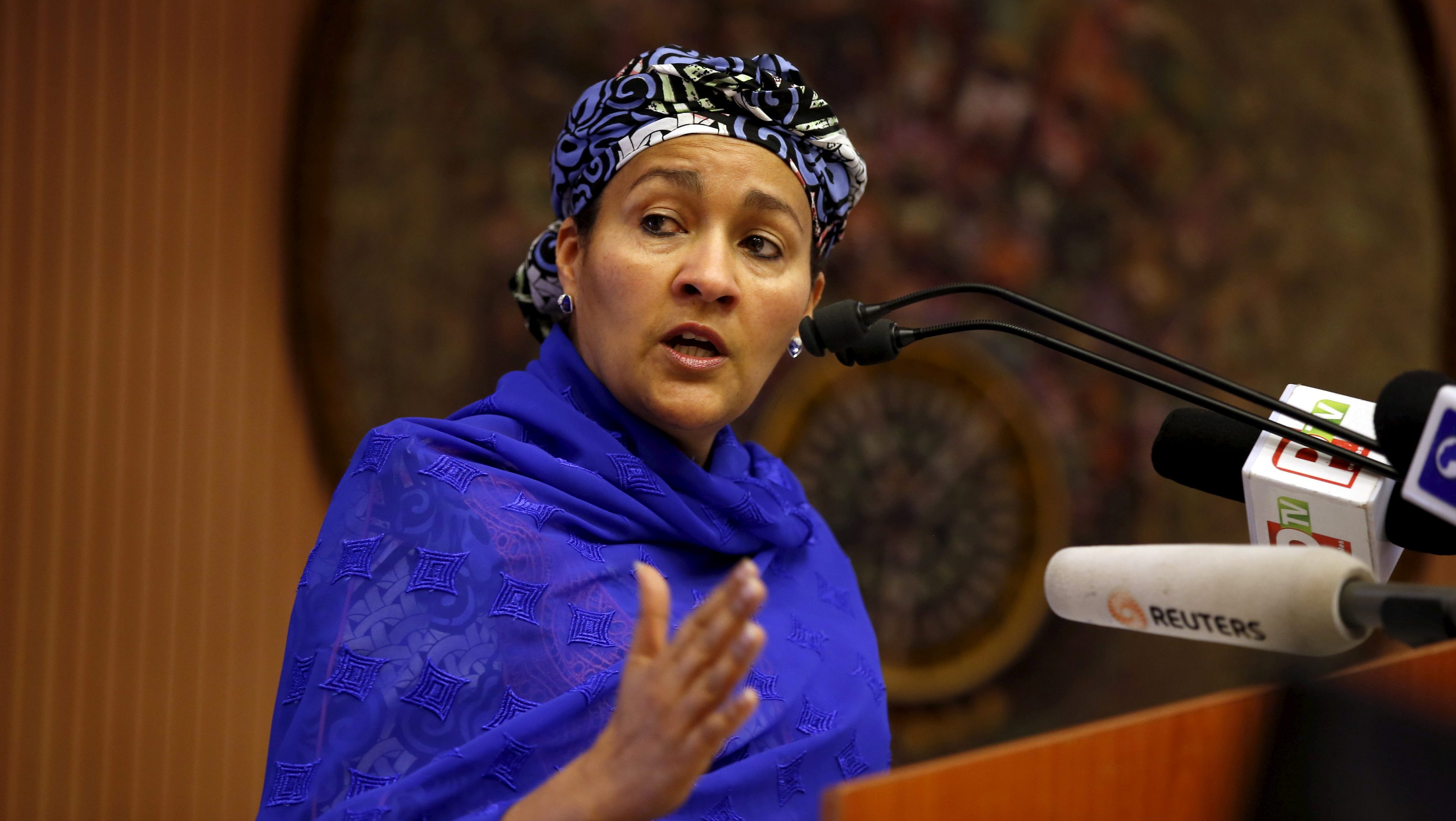 Minister of Environment Amina Mohammed speaks at the opening session of a Public Lecture on Nigeria and the commonwealth of Nations in Abuja