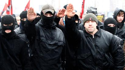 Russian ultra-nationalists march during a demonstration