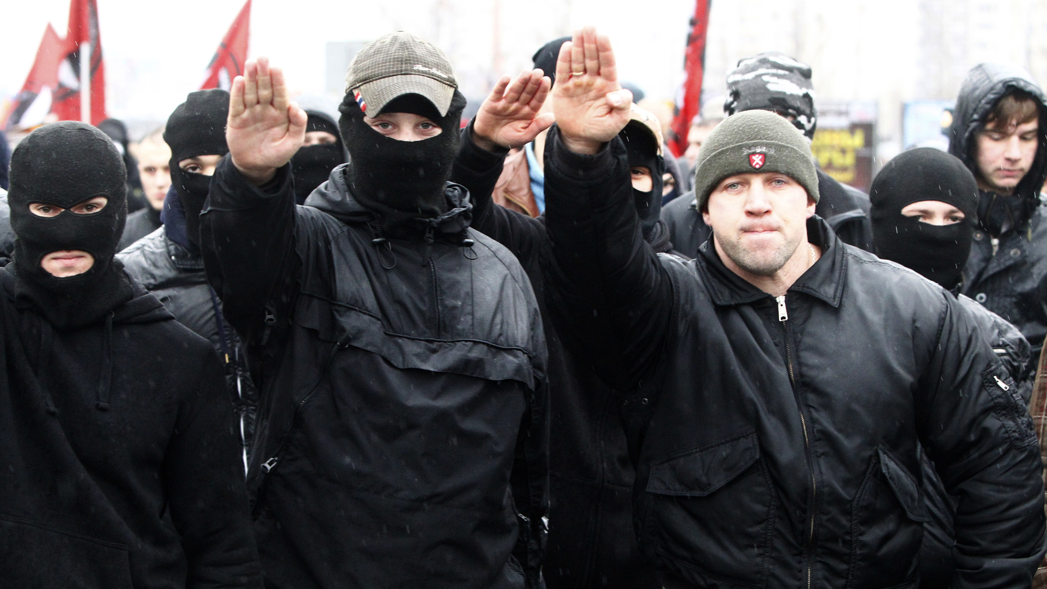 Russian ultra-nationalists march during a demonstration on the outskirts of Moscow, November 4, 2010. Russia marks the Day of People's Unity on November 4 when people celebrate the defeat of Polish invaders in 1612 and replace a communist celebration of the 1917 revolution.