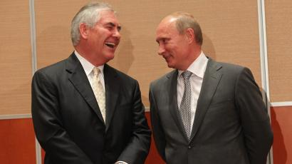 Russian President, Vladimir Putin (R) and Rex Tillerson (L), Chairman and CEO of Exxon Mobil during a signing ceremony for an arctic oil exploration deal between Exxon Mobil and Rosneft on August, 30, 2011 in Sochi, Russia. US oil company Exxon Mobil have agreed an Arctic oil exploration deal with Russian state-owned oil company Rosneft, during a signing ceremony on Tuesday, attended by president Vladimir Putin.