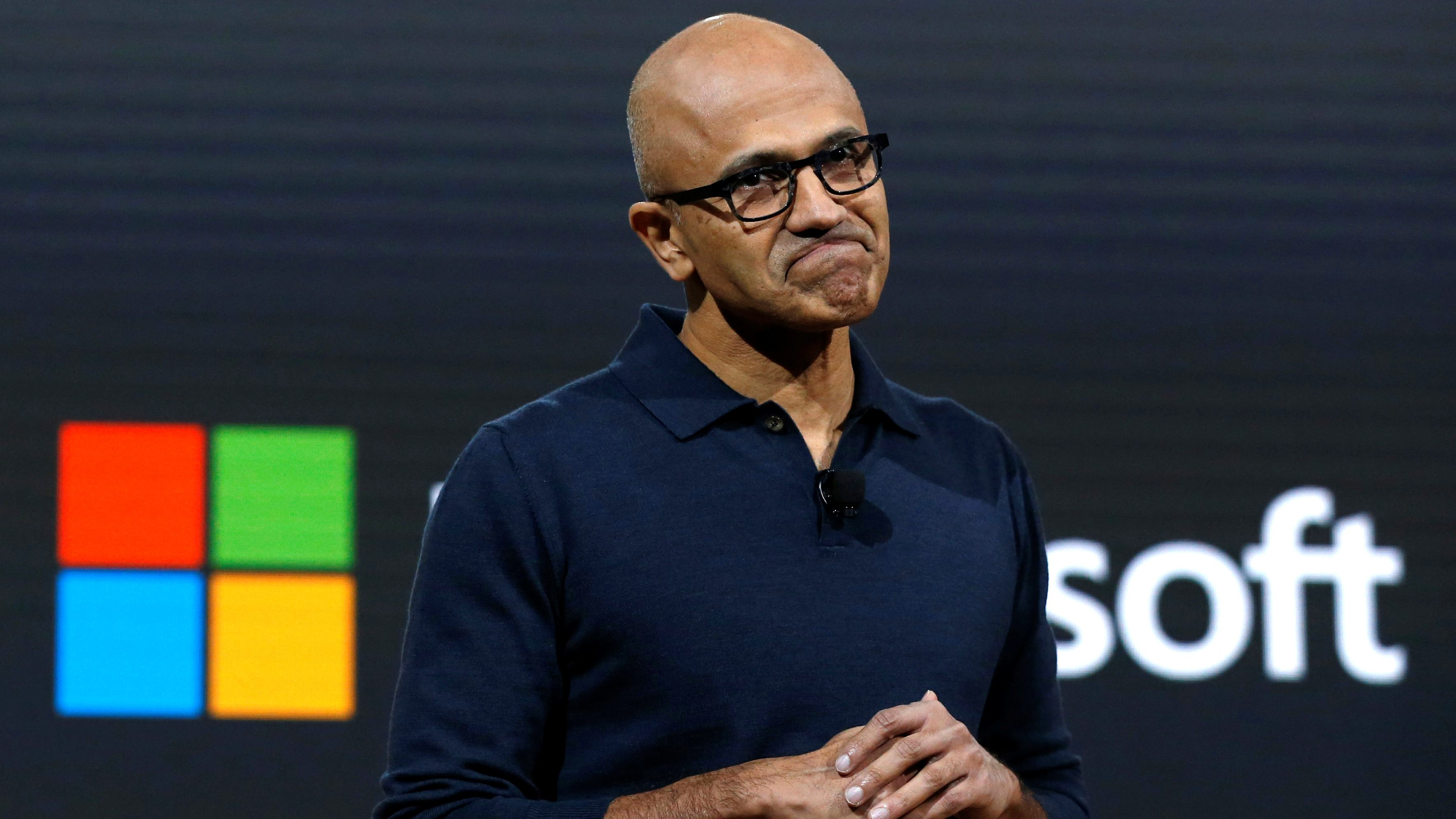 Microsoft CEO Satya Narayana Nadella speaks at Microsoft's live event in New York