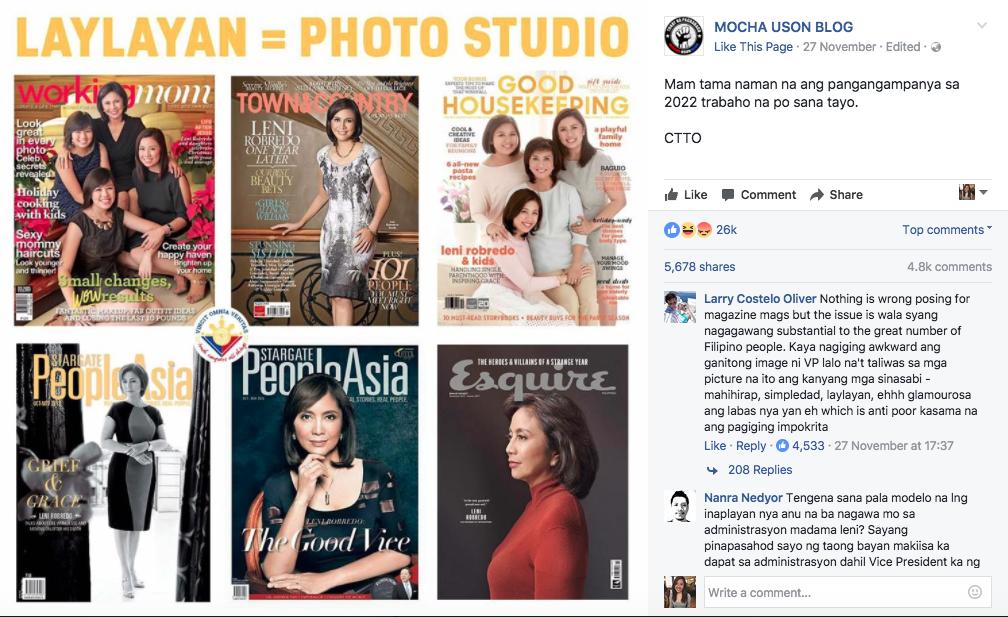mocha uson post about leni robredo magazine covers