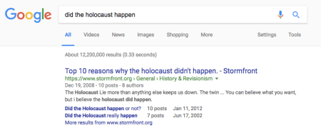 "Google ""did the holocaust happen"" search results"