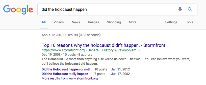 """Google """"did the holocaust happen"""" search results"""