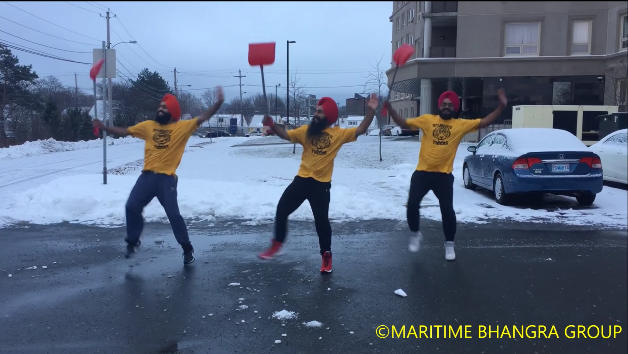 Canadian popular music group Maritime Bhangra Group post a Facebook video to show their Bhangra-dancing while shoveling