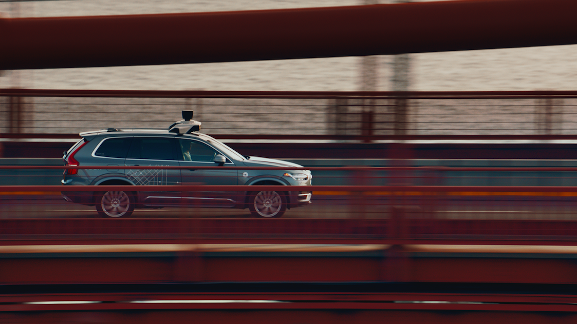 A self-driving Uber Volvo SUV in San Francisco.