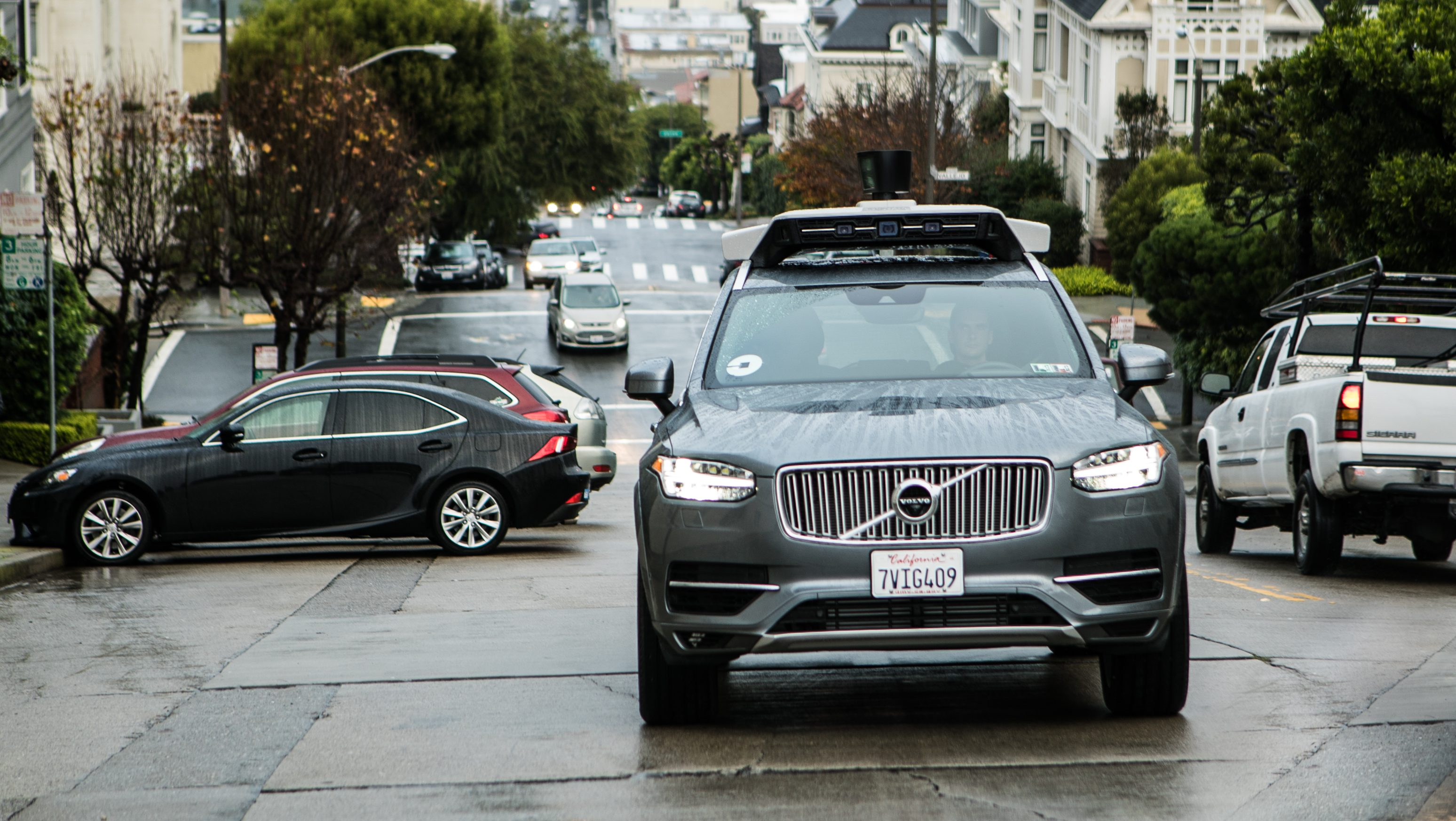 A self-driving Uber Volvo SUV on the streets of San Francisco.