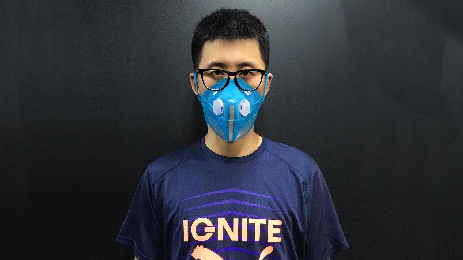 Beijing-based designer Wang Zhijun turns sneakers into smog-blocking face masks.