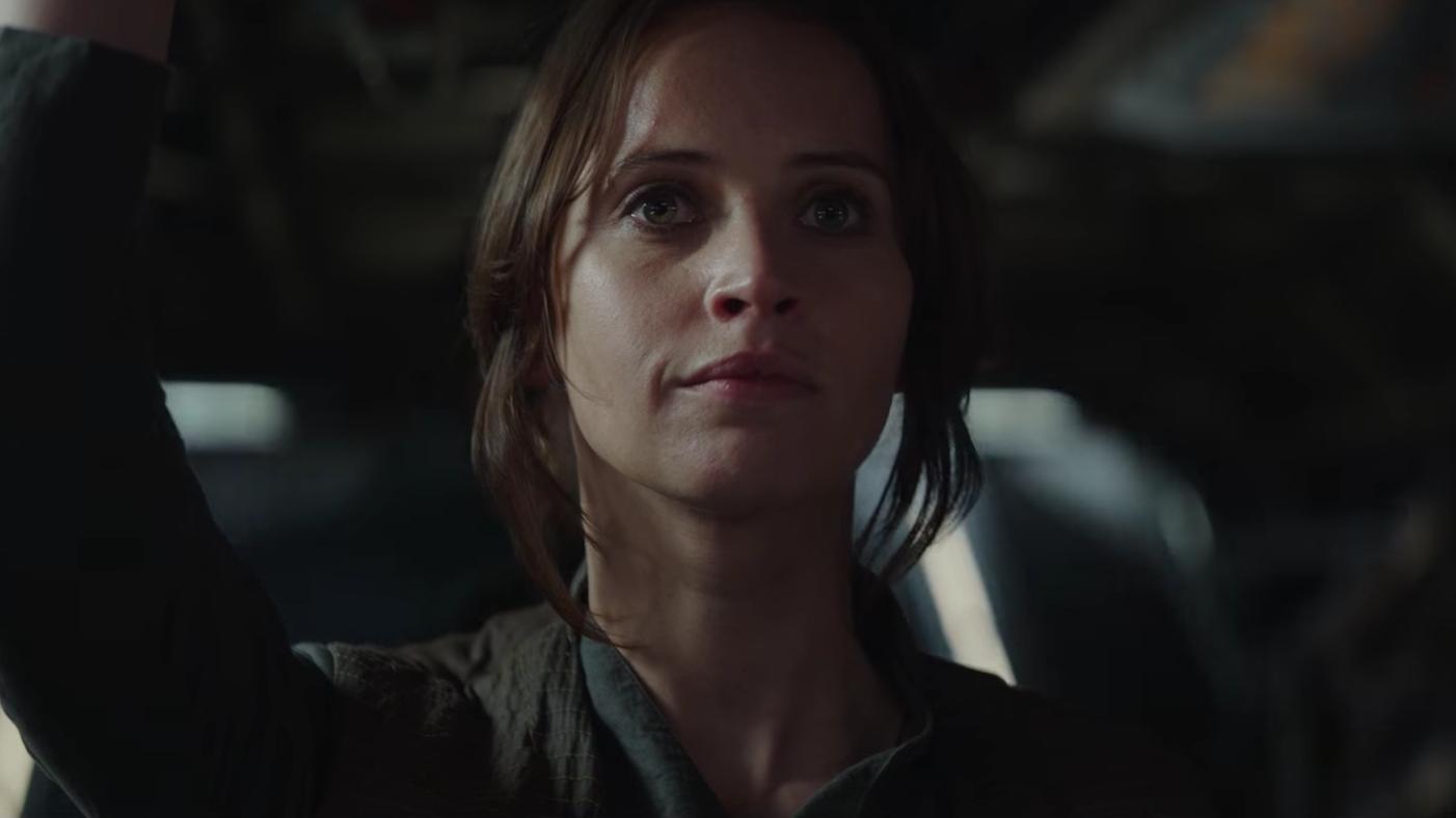 Felicity Jones as Jyn Erso.