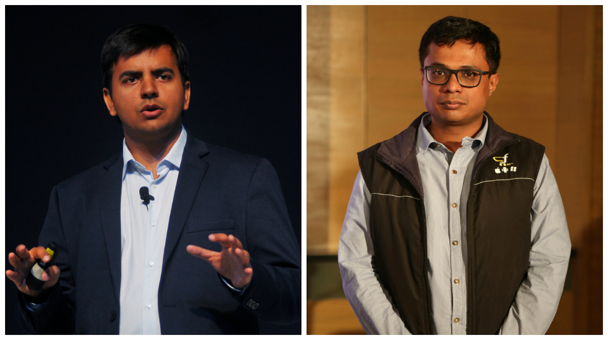 Bhavish Aggarwal, CEO and co-founder of Ola, gestures as he addresses the media during a news conference in Bengaluru, India, November 22, 2016. And Flipkart CEO Sachin Bansal addresses a news conference in Bangalore, India, 12 May 2015. India's e-commerce giants Flipkart and largest online fashion retailer Myntra will become a mobile app-only shopping platform starting 15 May, which intended to accelerate a consumer shift towards using smartphones to shop online, save cost and reduce dependence. The number of mobile Internet users in India is expected to reach 213 million by June, according to a 2014 report and it will be approximately 480 million mobile Internet users by end of 2017.