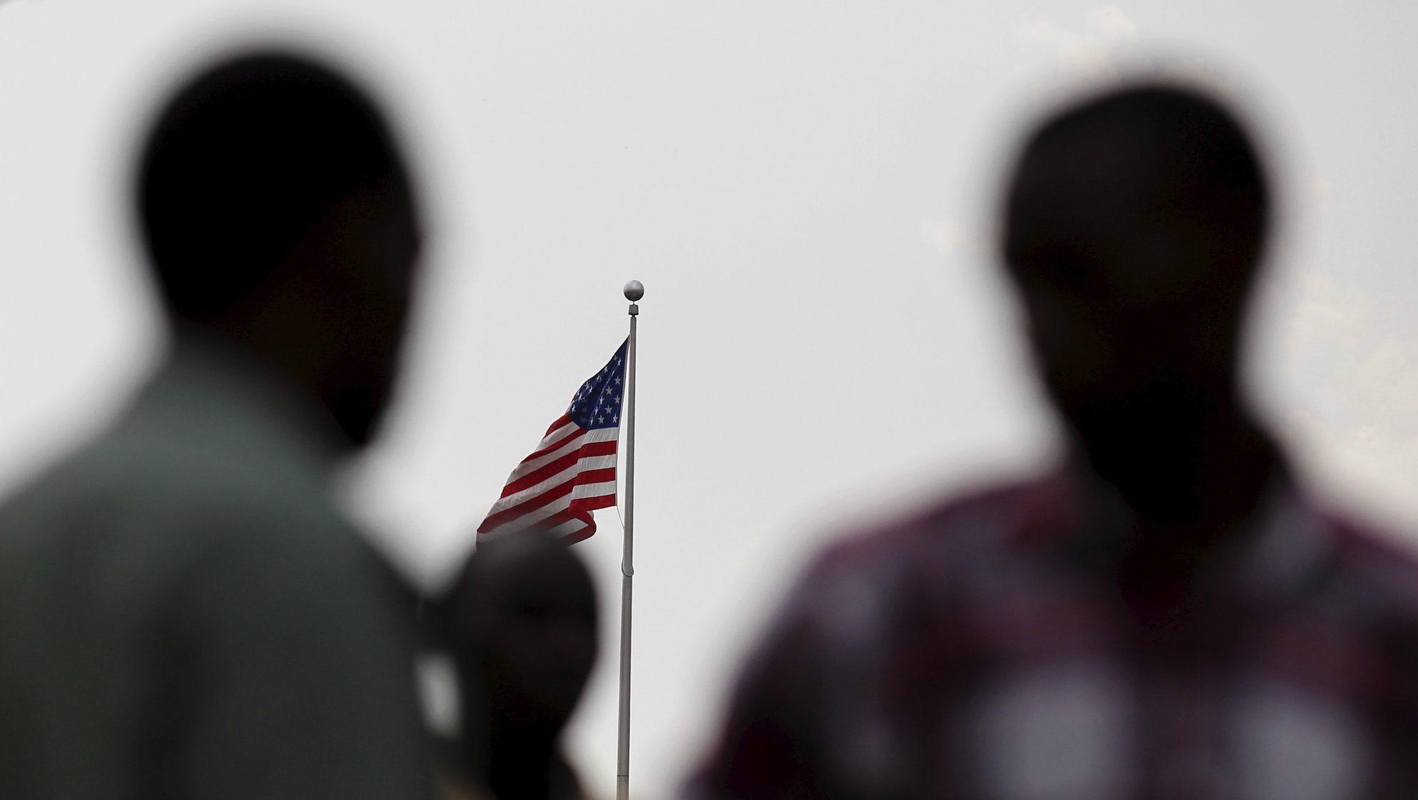 Students from a Burundi university camp outside the U.S. embassy in the capital Bujumbura