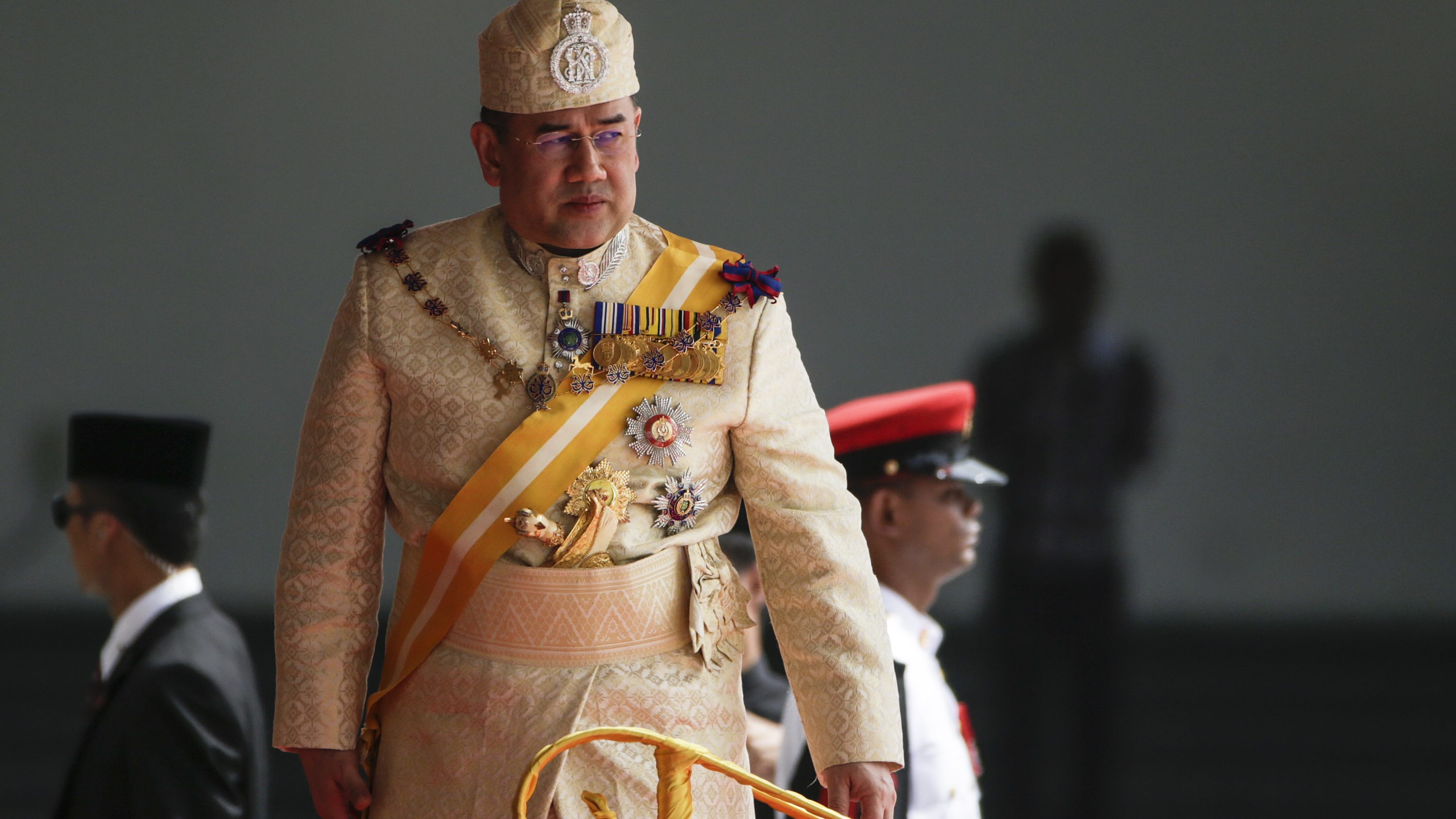 Malaysia's new King, Sultan Muhammad V (L) looks on during the official welcoming ceremony at Parliament Square, in Kuala Lumpur, Malaysia, 13 December 2016. Sultan Muhammad V is the 15th Malaysian King. The appointment is rotated among nine of Malaysia's 13 states that have hereditary royal rulers. EPA/FAZRY ISMAIL