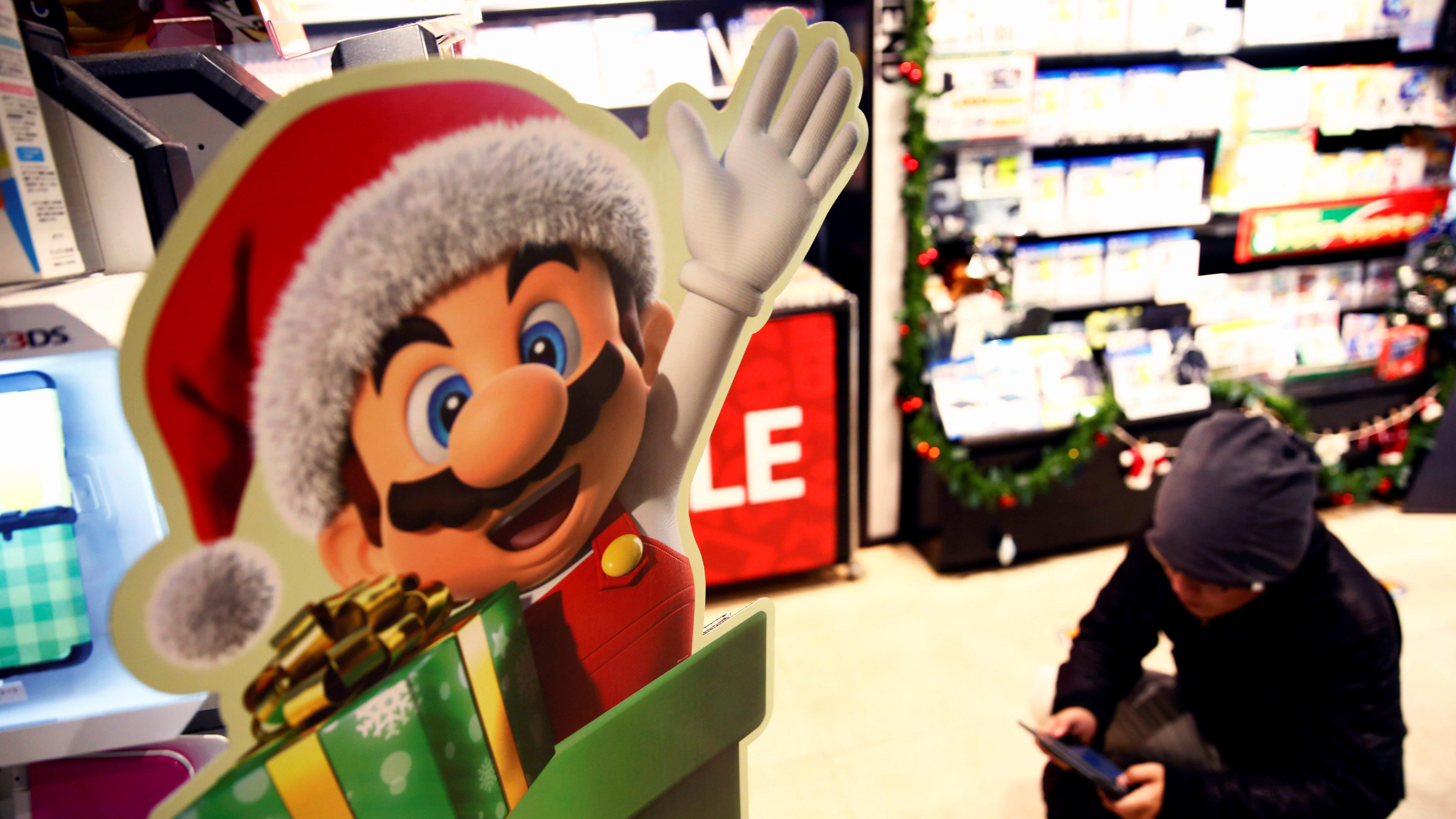 Nintendo's Super Mario game character is pictured at a video game corner of SHIBUYA TSUTAYA in Tokyo, Japan, December 21, 2016.