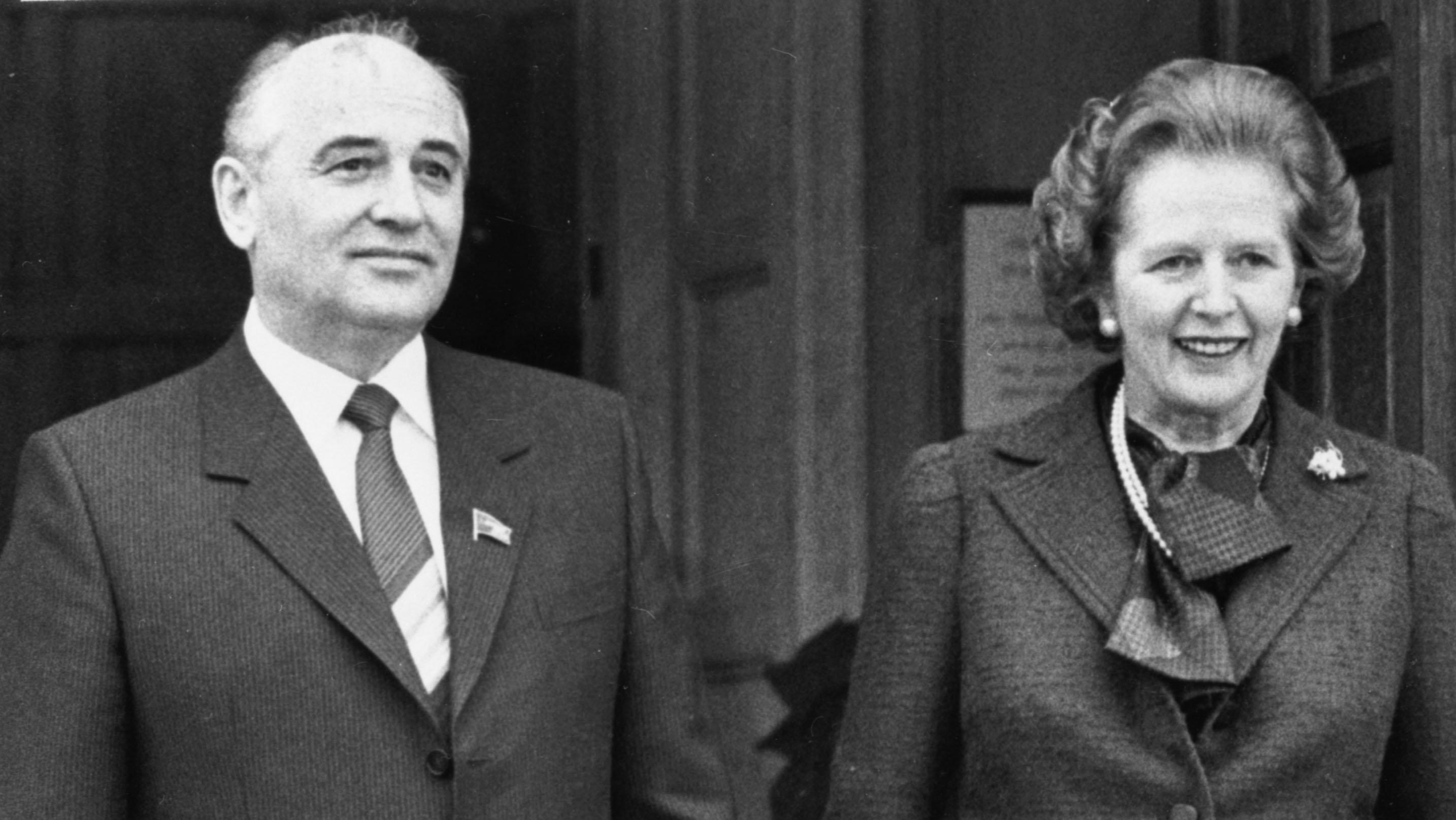 Former British Prime Minister Margaret Thatcher and Soviet leader-to-be Mikhail Gorbachev in 1984
