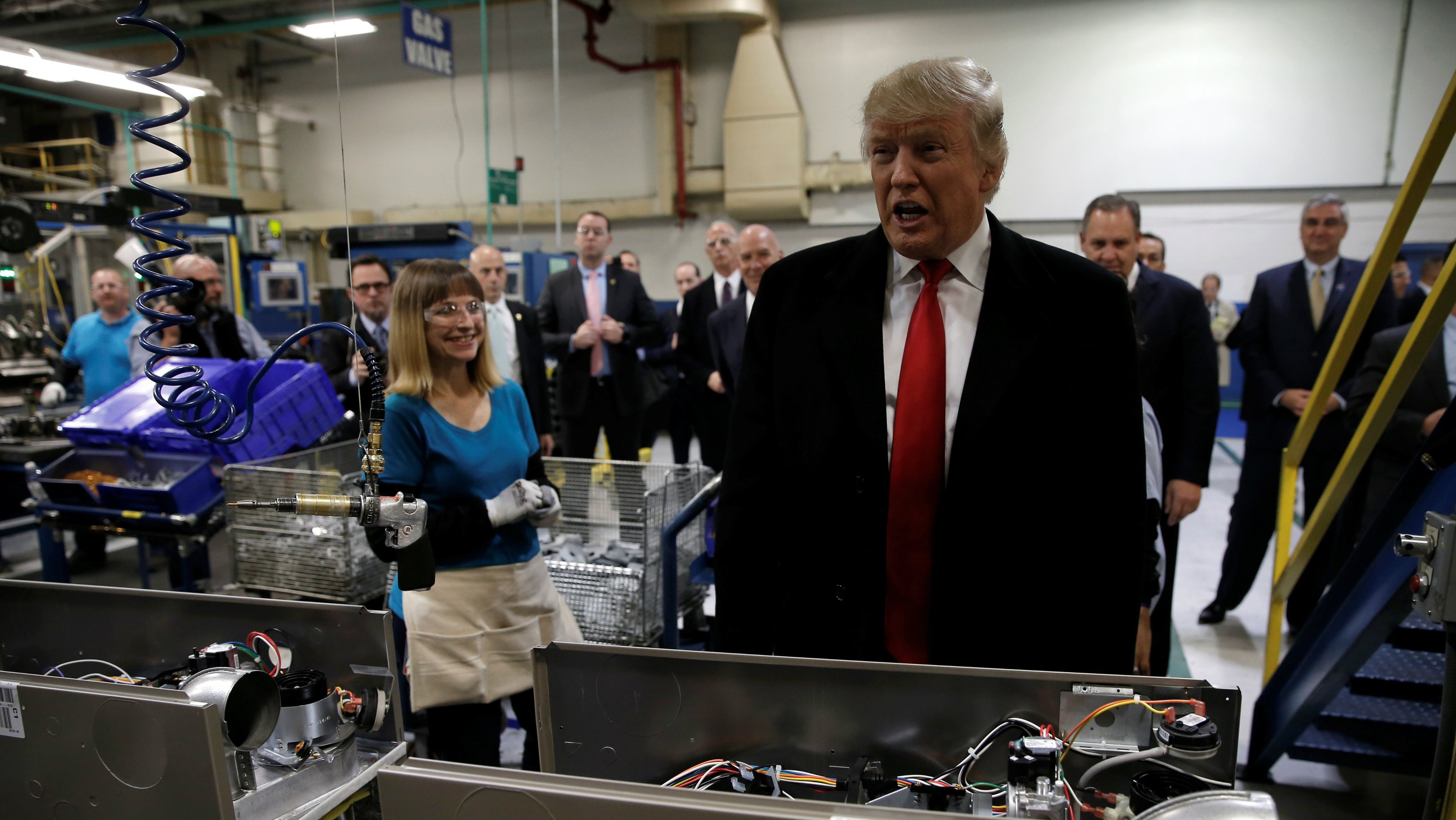 U.S. President-elect Donald Trump at Carrier factory in Indianapolis, Indiana,