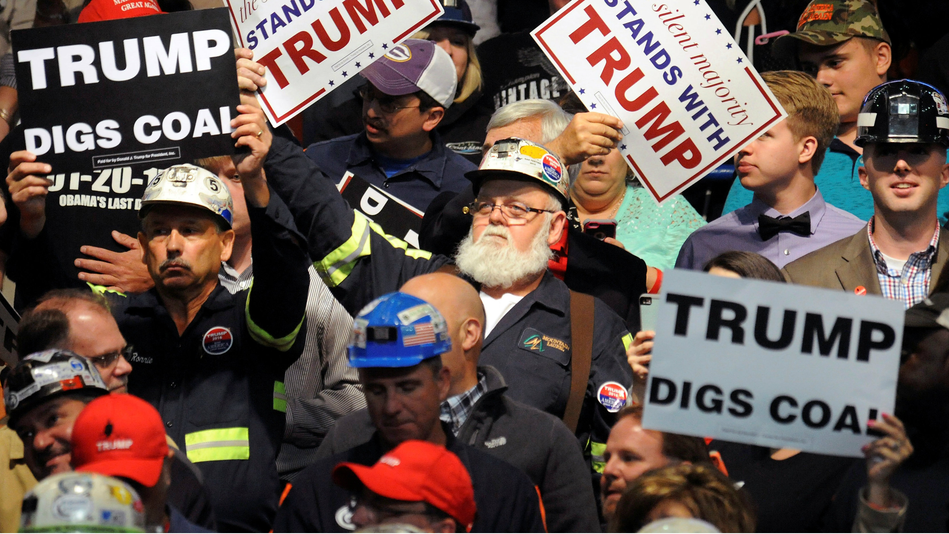 People show their support as Donald Trump speaks in Charleston, West Virginia, U.S. May 5, 2016. REUTERS/Chris Tilley/File Photo