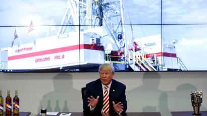 Republican presidential candidate Donald Trump speaks during a roundtable meeting with energy executives, Tuesday, Oct. 4, 2016, in Denver.