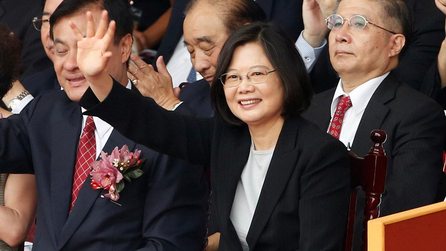 President Tsai Ing-wen waves during National Day celebrations in Taipei, Taiwan, October 10, 2016.