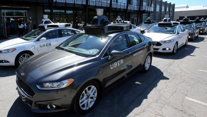 A fleet of Uber's Ford Fusion self driving cars in Pittsburgh.