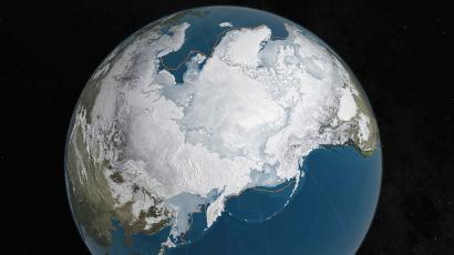 A NASA illustration shows Arctic sea ice melted