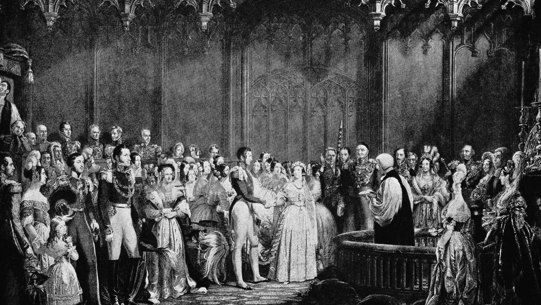 Illustration of British Royal Wedding from 1840s