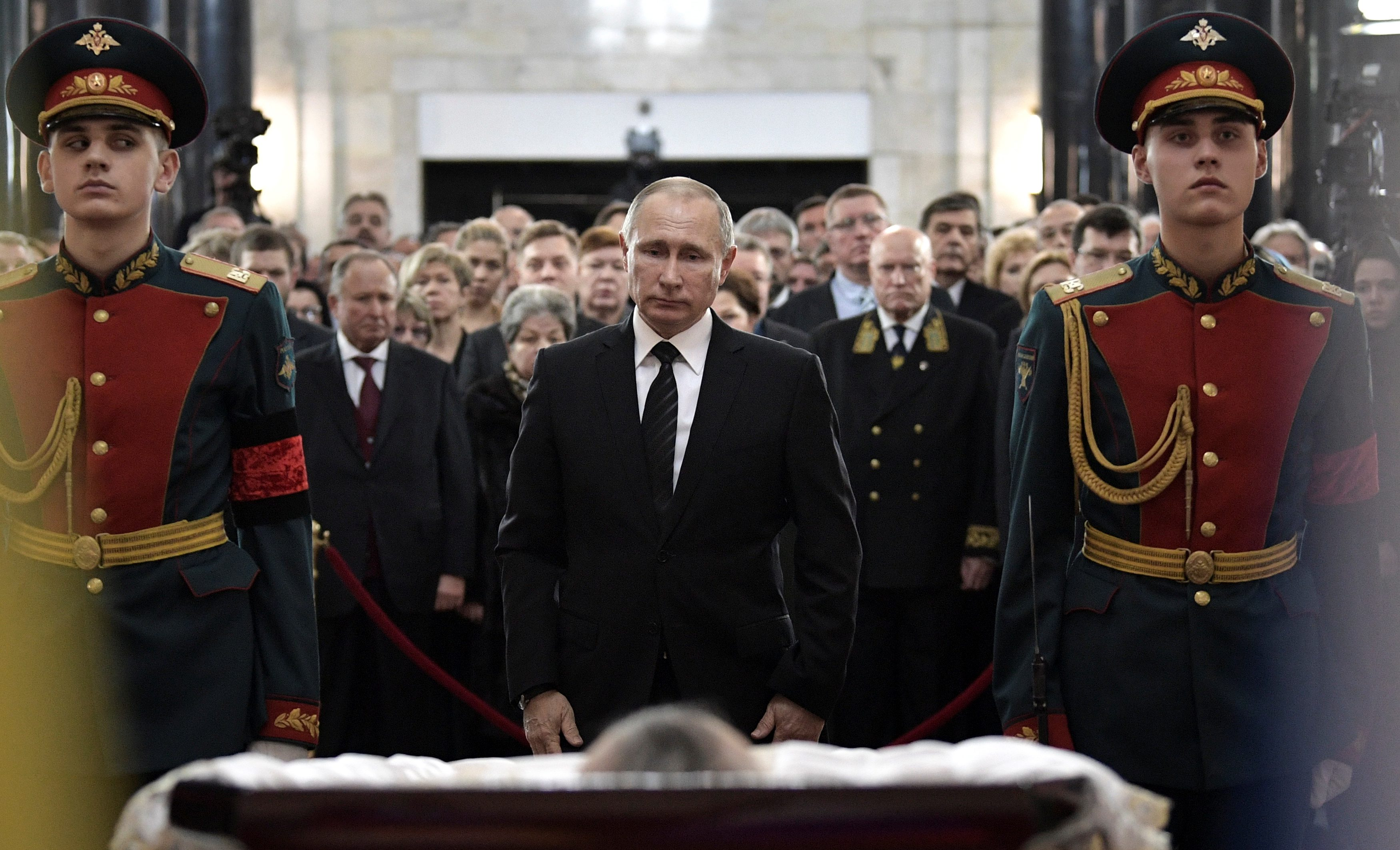 Russian President Putin attends memorial ceremony held for Russia's ambassador to Turkey Karlov, who was shot dead by off-duty policeman on December 19 in Ankara, in Moscow