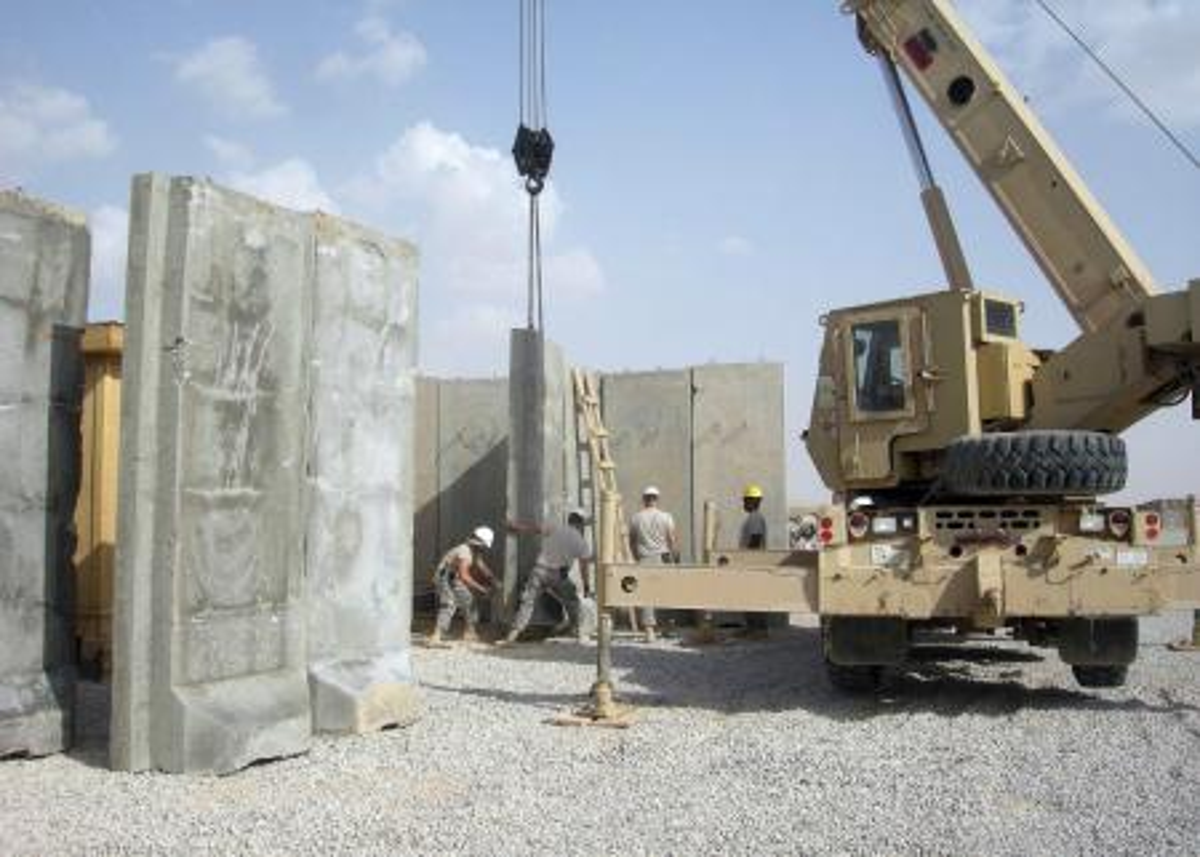 walls being assembled