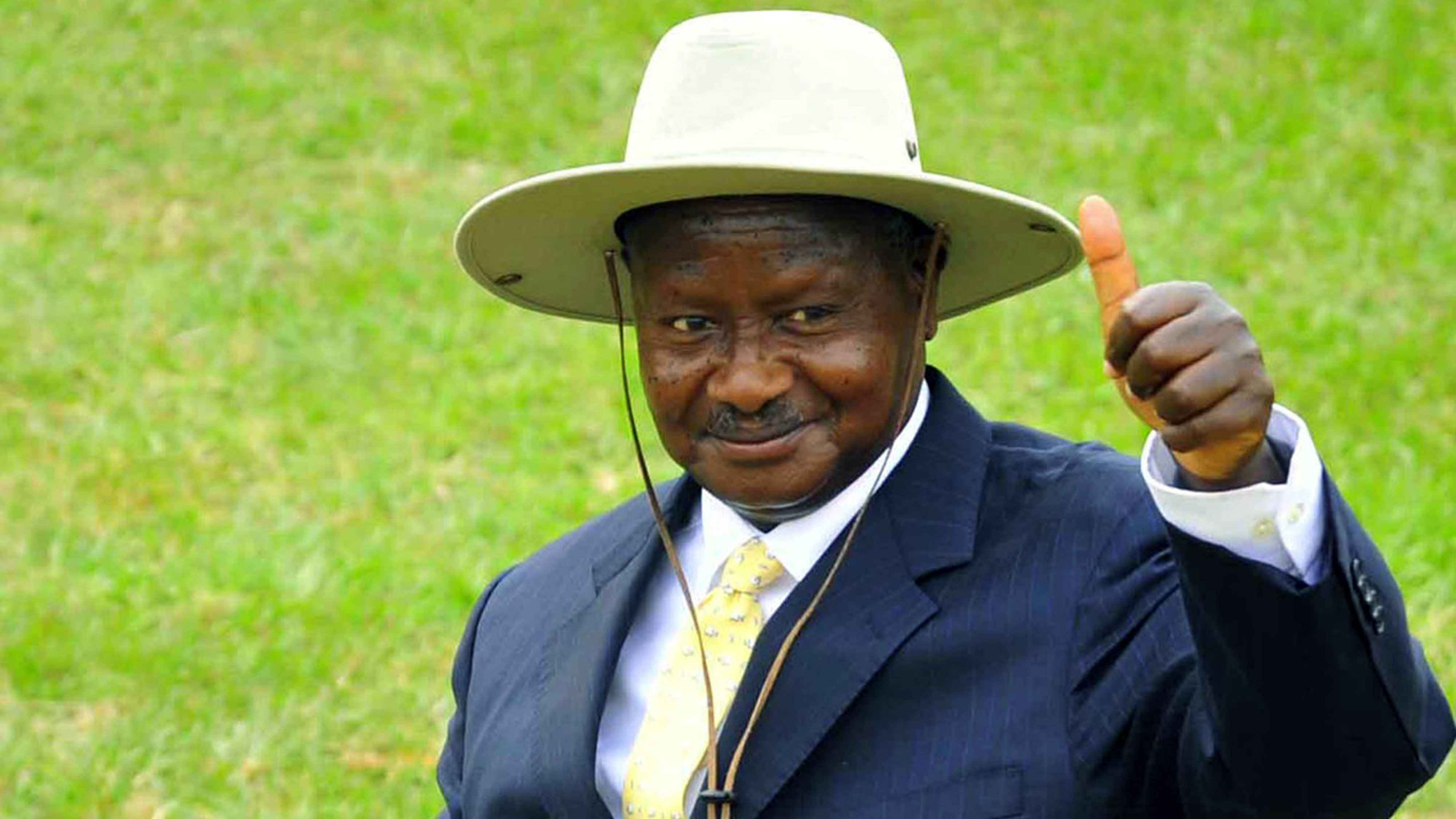 In this Saturday, Feb. 12, 2011 file photo, Uganda President Yoweri Museveni campaigns in Uganda's capital Kampala. Officials with Uganda's ruling party want to remove the age limit on the presidency so long-time President Yoweri Museveni can run again, a spokesman said Wednesday, Aug. 3, 2016.