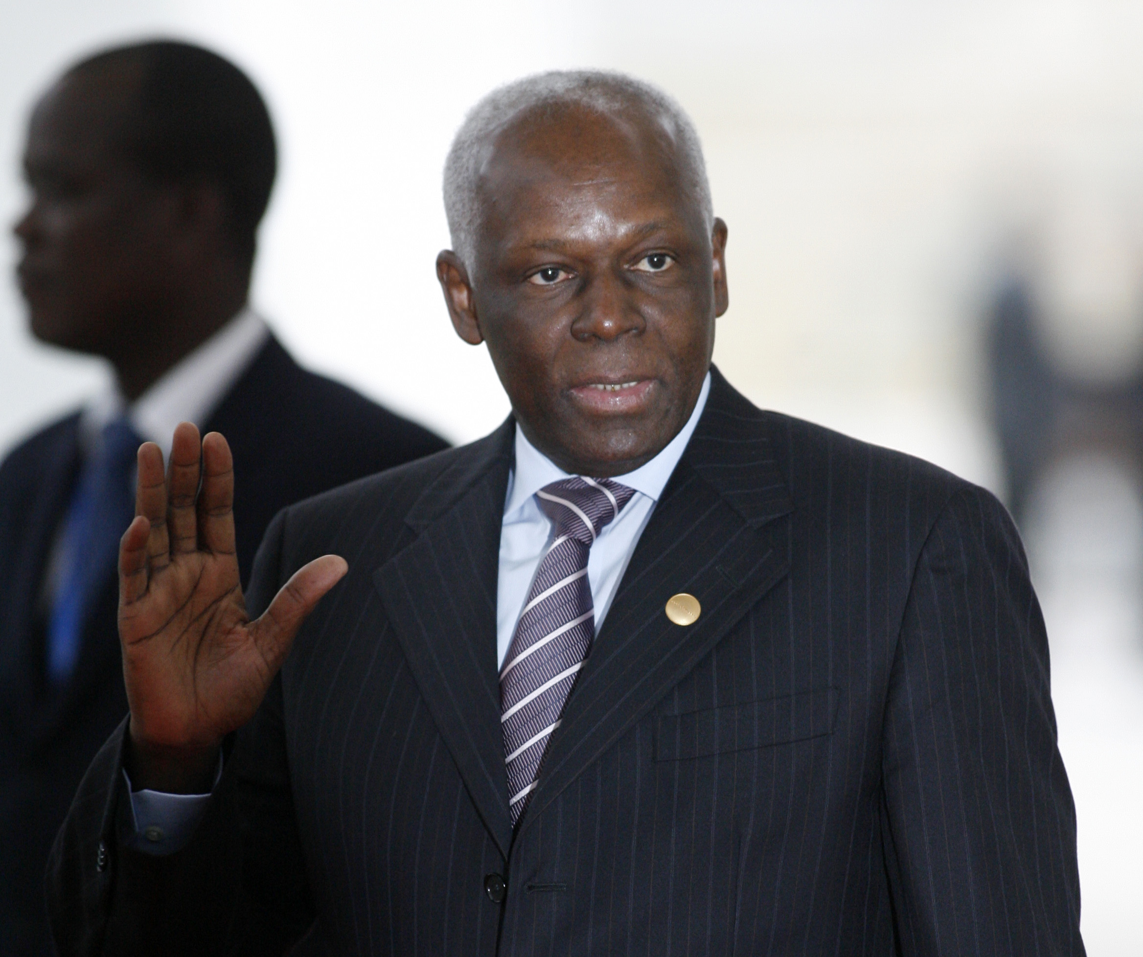 President Jose Eduardo dos Santos arrives for an EU Africa Summit in Lisbon, Sunday Dec. 9, 2007. European and African leaders are scheduled to sign a strategic partnership agreement on Sunday, after a two-day summit marked by tensions over human rights in Zimbabwe.