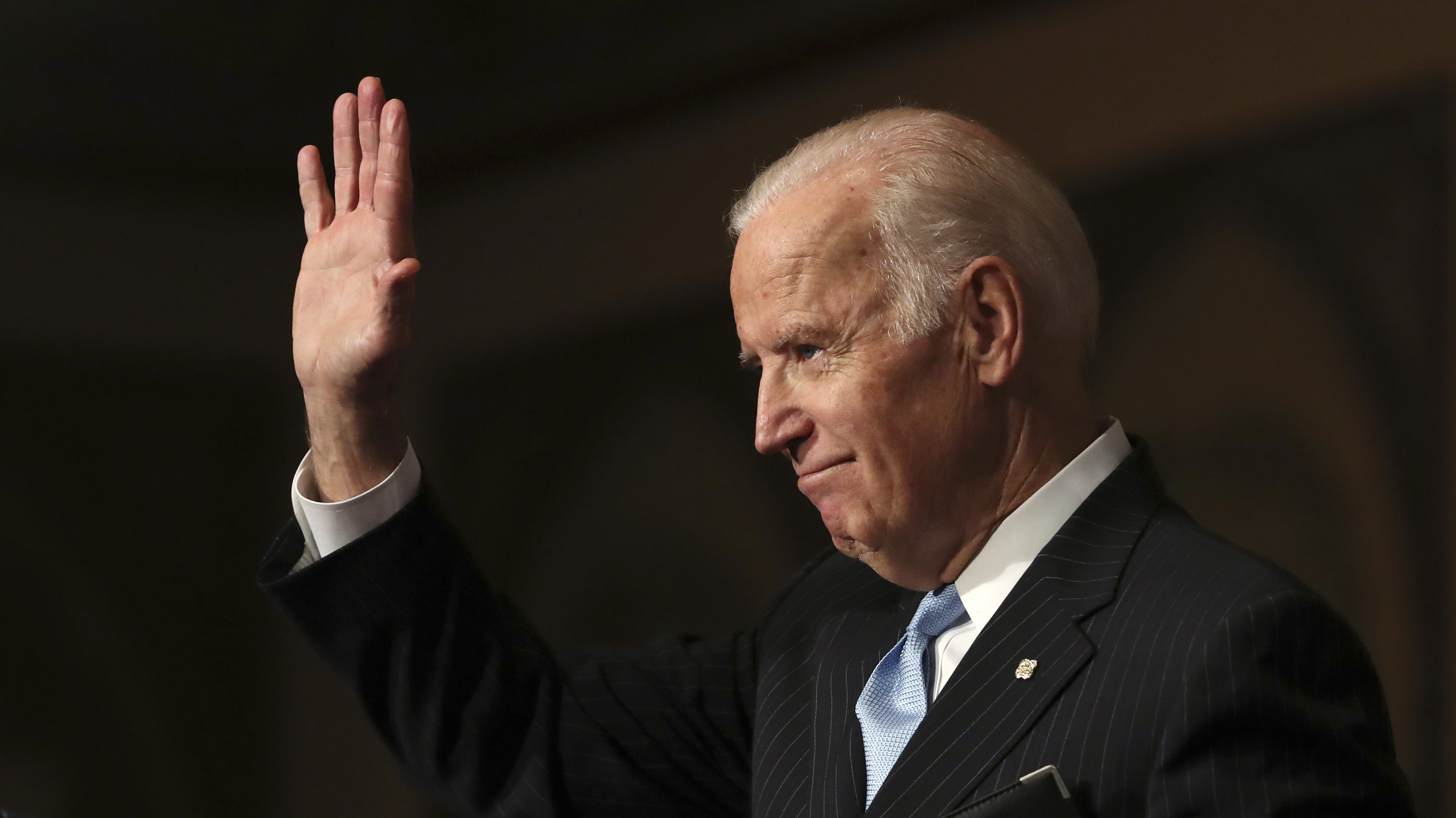 Vice President Joe Biden waves as he concludes his speech about sound financial sector regulation at Georgetown University in Washington, Monday, Dec. 5, 2016. (AP Photo/Manuel Balce Ceneta)