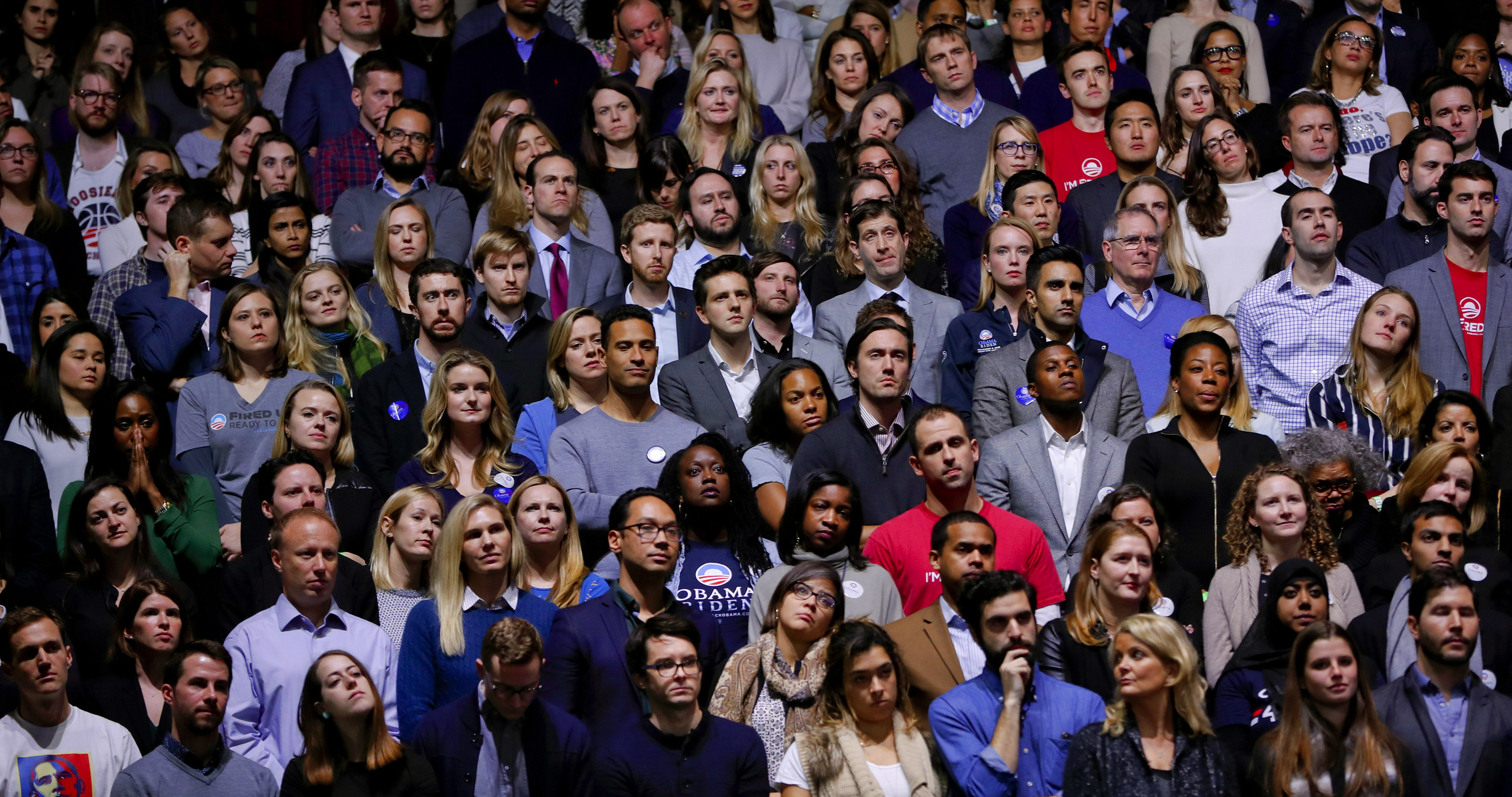 Members of the audience listens to President Barack Obama's farewell address at McCormick Place in Chicago, Tuesday, Jan. 10, 2017. (AP Photo/Pablo Martinez Monsivais)