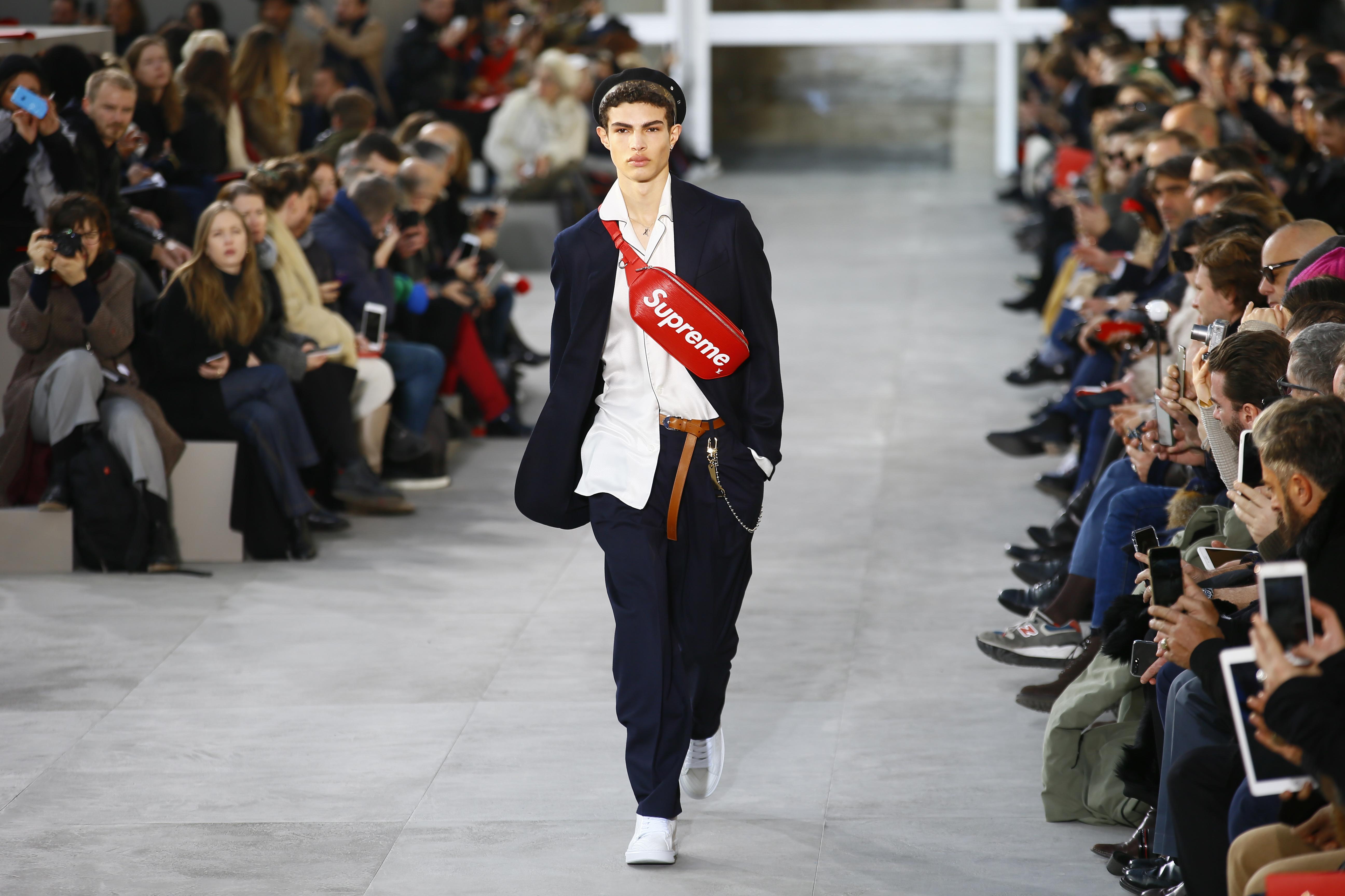 A model wears a creation for Louis Vuitton Men's Fall Winter 2017-2018 fashion collection presented in Paris, Thursday, Jan.19, 2017. (AP Photo/Francois Mori)