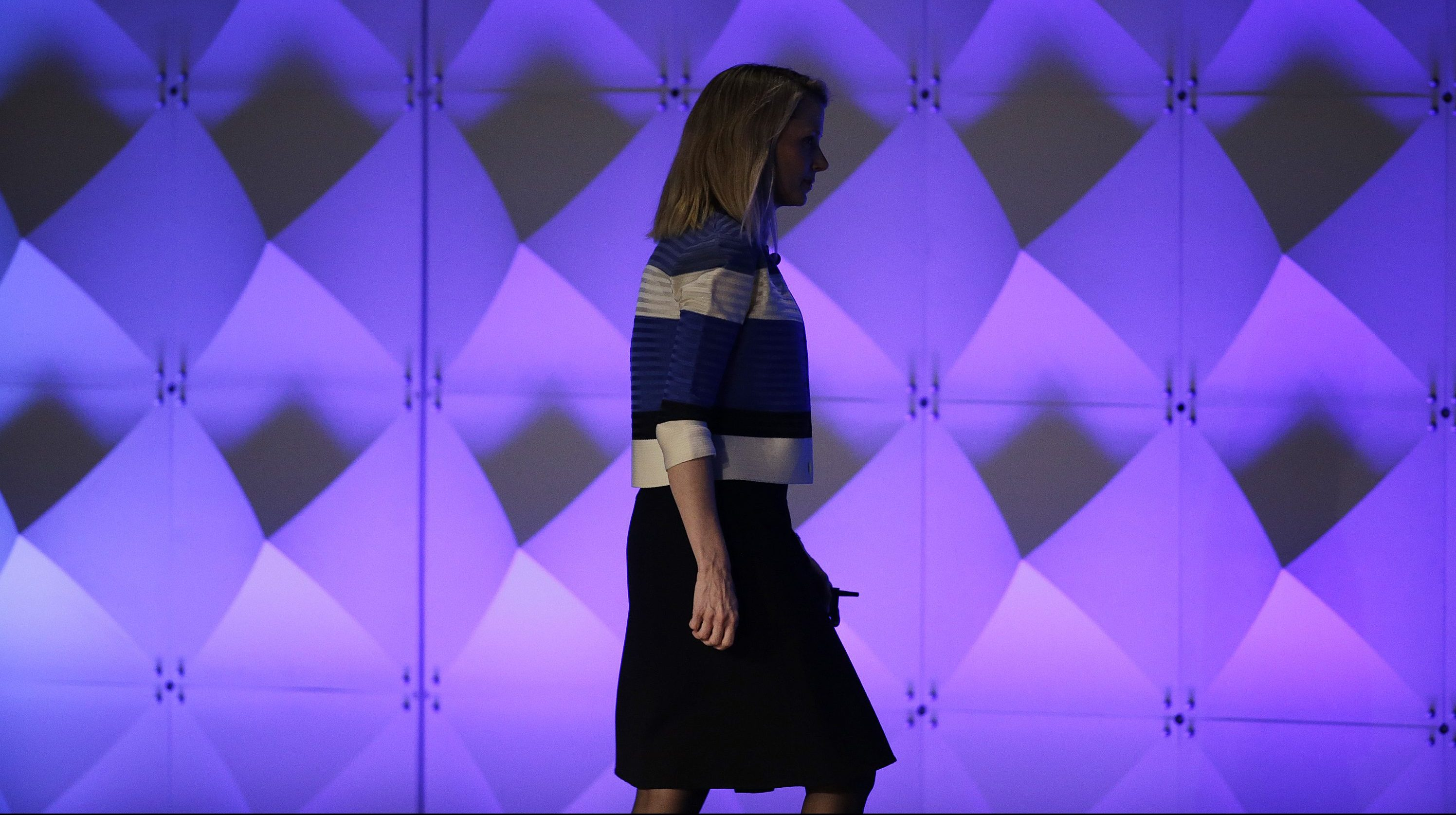 Yahoo CEO Marissa Mayer walks off the stage after delivering the keynote address Thursday, Feb. 18, 2016, at the Yahoo Mobile Developer Conference in San Francisco.