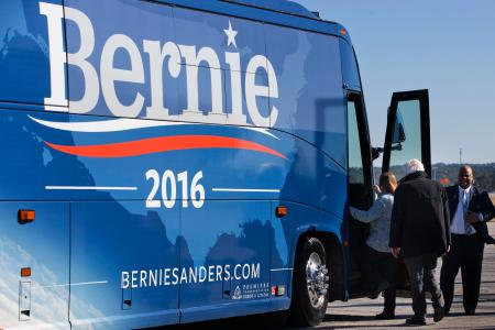 Democratic presidential candidate Sen. Bernie Sanders, I-Vt. follows his wife Jane Sanders as they board their bus on arrival in West Columbia, S.C., Friday, Feb. 26, 2016, from campaign stops in Minnesota. (AP Photo/Jacquelyn Martin)