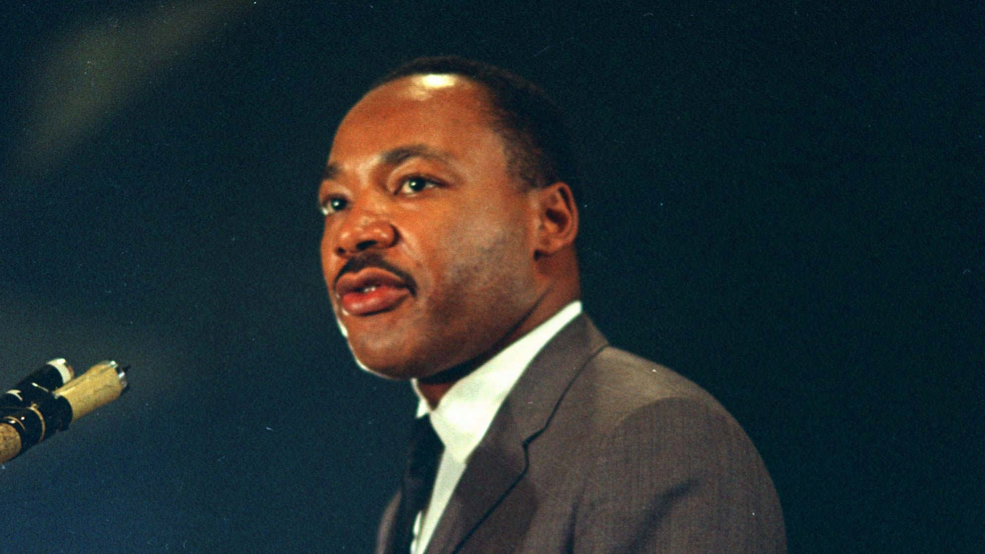 Dr. Martin Luther King speaks March 25, 1967 at the Chicago peace march. (AP Photo/Chick Harrity)