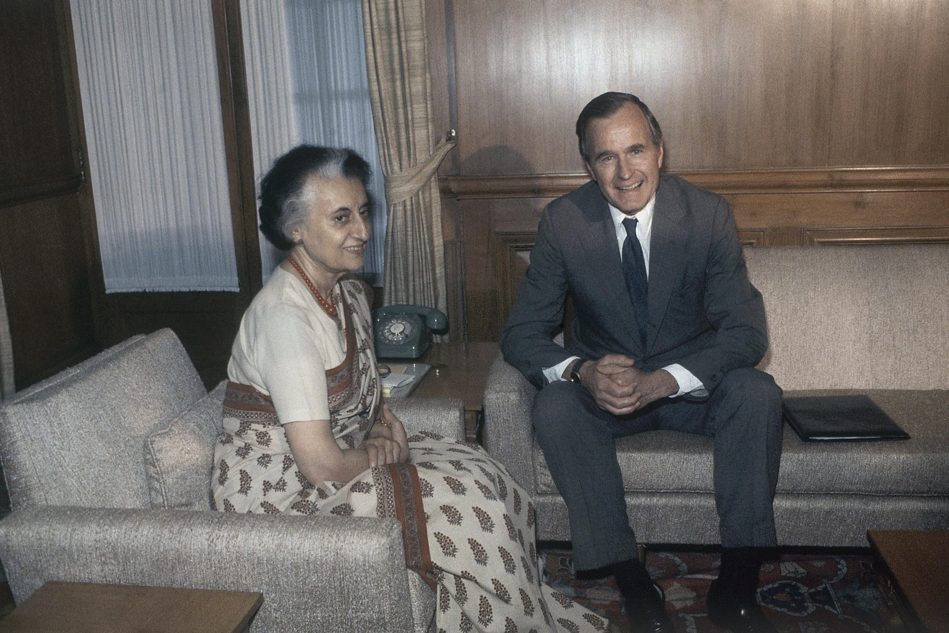 India-Indira Gandhi-Rajiv Gandhi-Rahul GandhiGeorge HW Bush