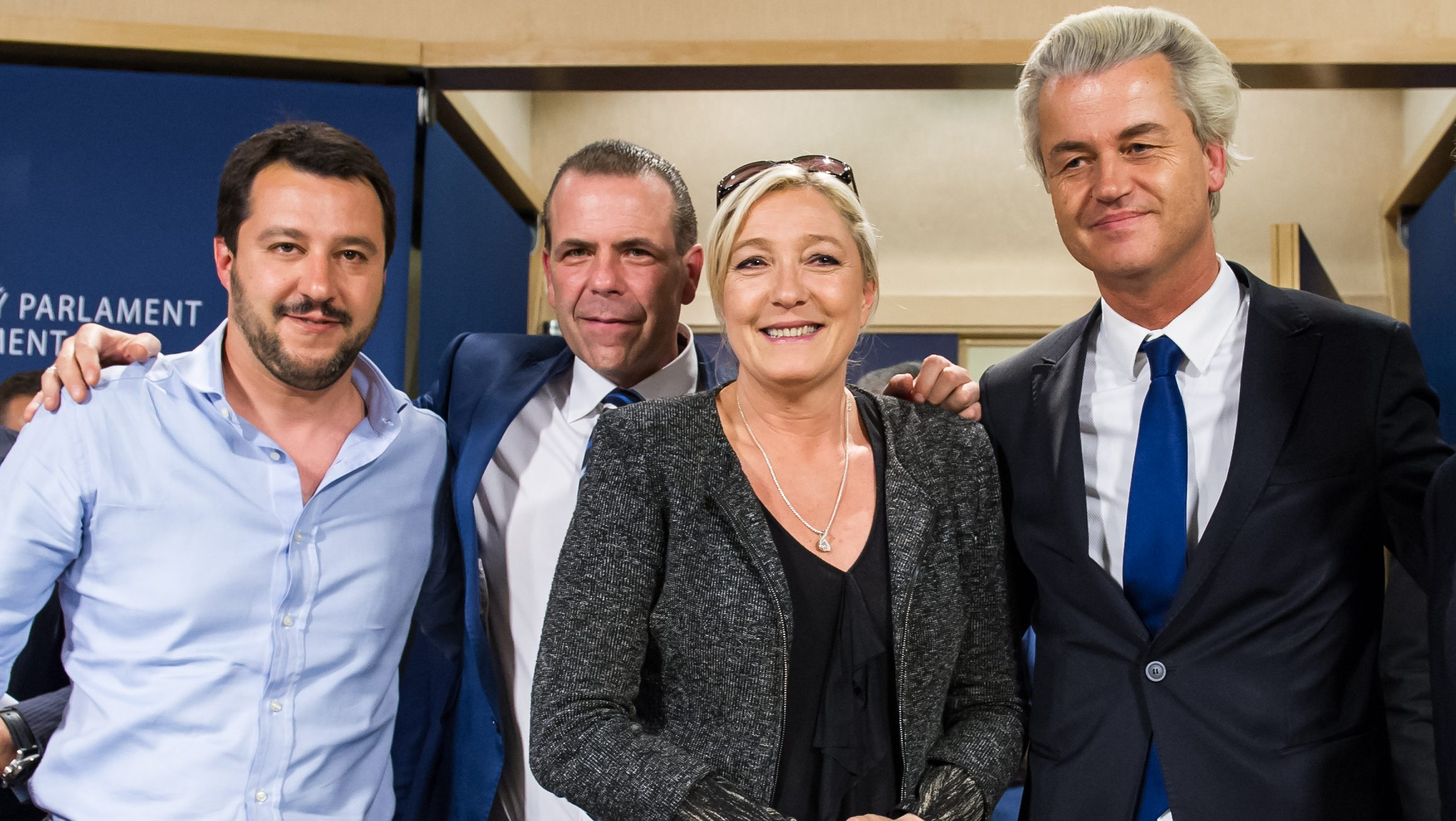 FILE - In this Wednesday, May 28, 2014 file photo, French far-right National Front party leader Marine Le Pen, second right, poses for photographers with Dutch far-right Freedom Party leader Geert Wilders, right, Austria's Secretary General of the Freedom Party Harald Vilimsky, second left, and Federal Secretary of Italy's Northern League Matteo Salvini after a meeting of EU far-right parties at the European Parliament in Brussels. The election result in Greece on Sunday, Jan. 25, 2015 reflects a growing European backlash against austerity policies. Across the continent, support is growing for parties and groups outside the mainstream like Syriza, which triumphed in Greece on Sunday after pledging to renegotiate the country's huge bailout agreements. (AP Photo/Geert Vanden Wijngaert, File)