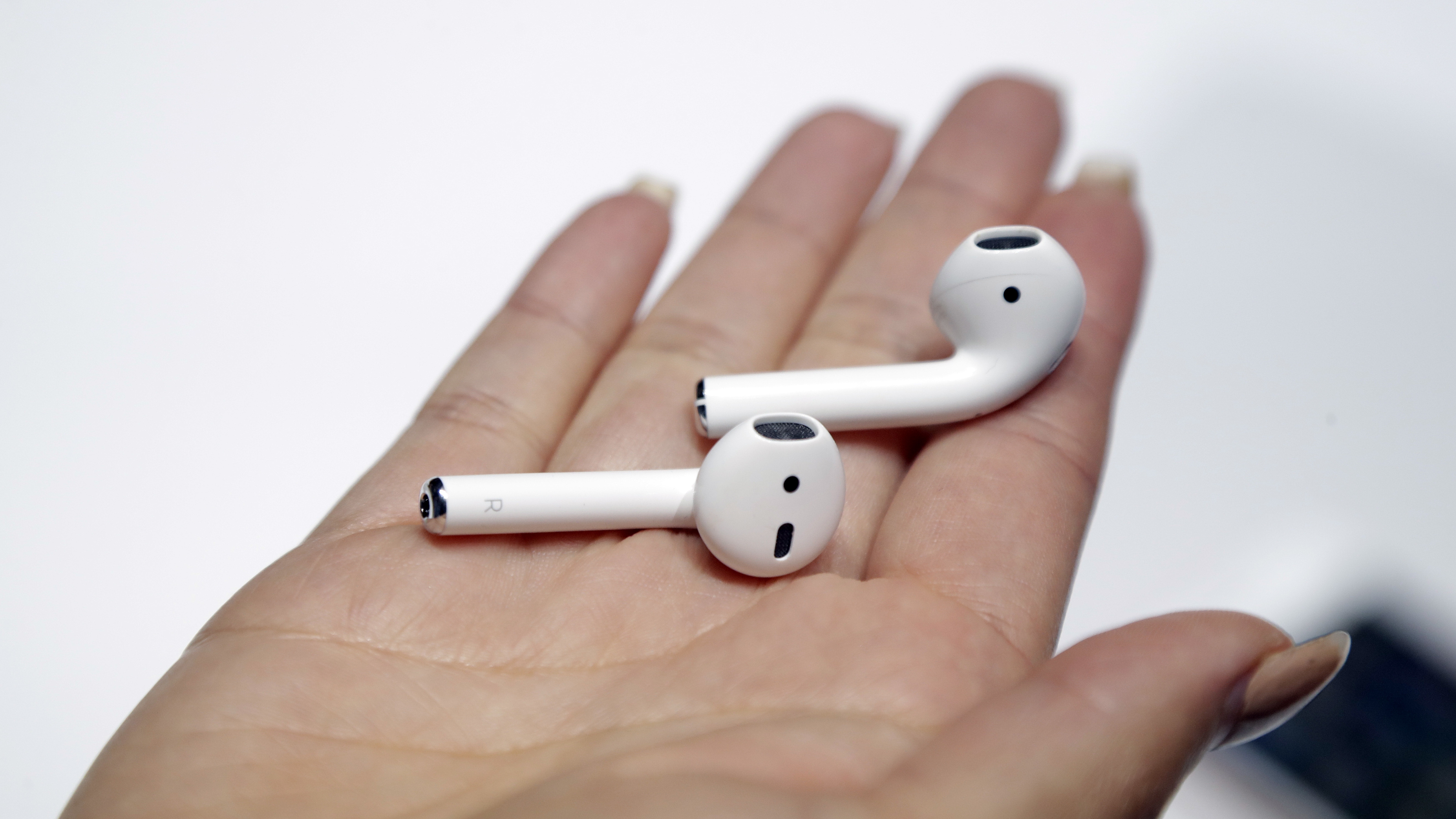 The new Apple AirPods are shown during an event to announce new Apple products on Wednesday, Sept. 7, 2016, in San Francisco. (AP Photo/Marcio Jose Sanchez)