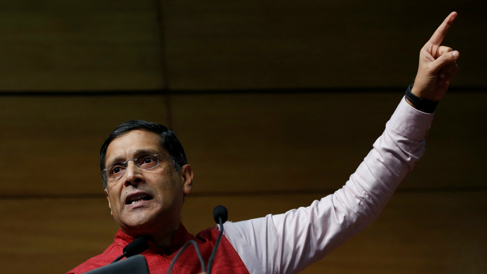 India's chief economic advisor Arvind Subramaniam gestures as he addresses the media during a news conference, in New Delhi, India, January 31, 2017.