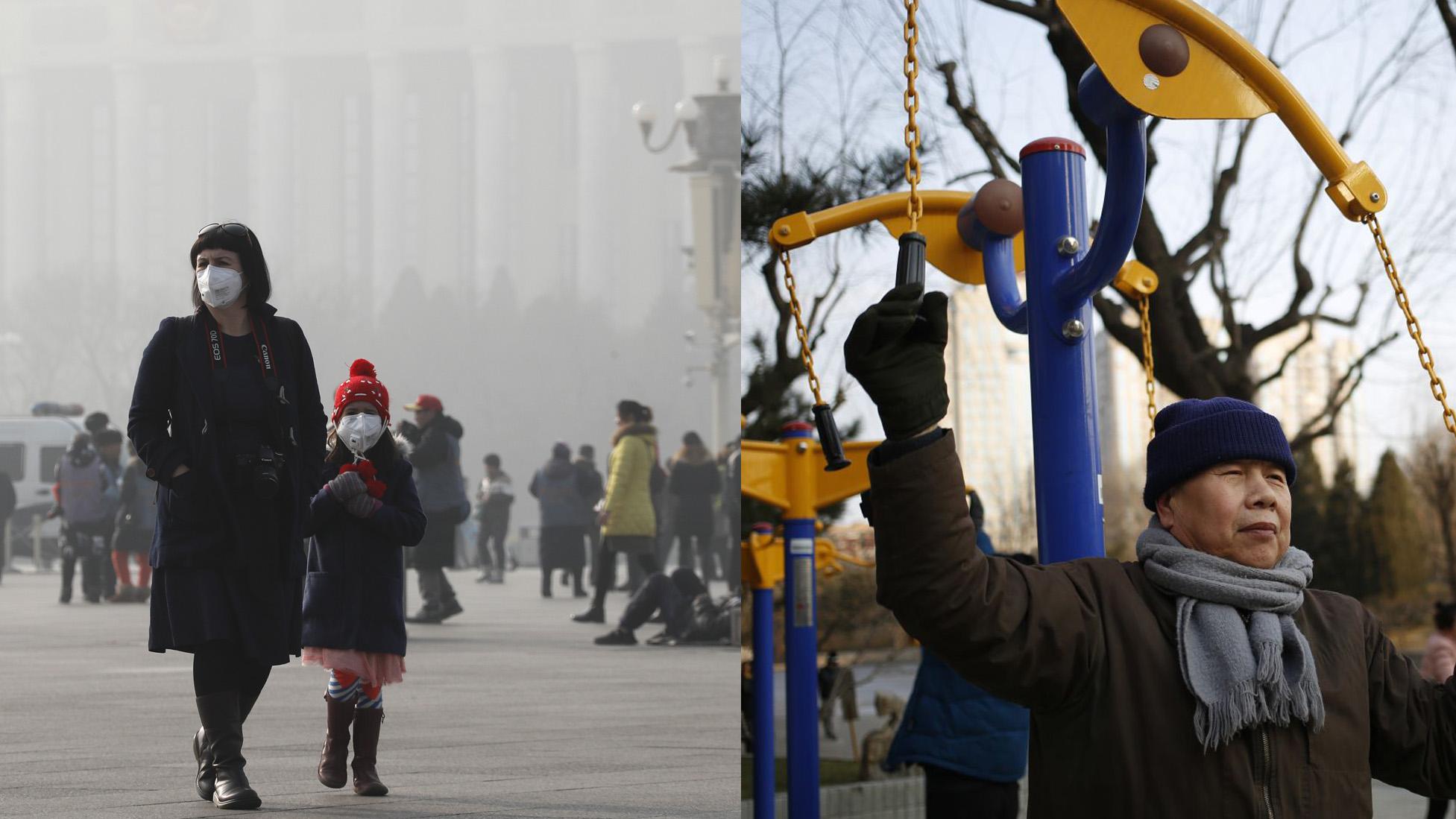 Pollution in Beijing: Wearing masks on Jan. 4; breathing deep on Jan. 8.