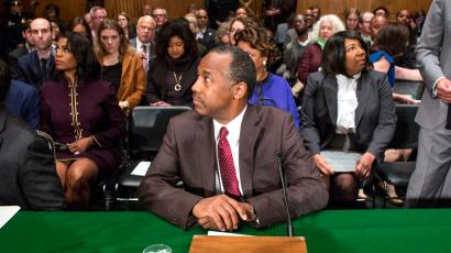 Housing and Urban Development Secretary-designate Ben Carson prepares to testify on Capitol Hill in Washington, Thursday, Jan. 12, 2017, at his confirmation hearing before the Senate Banking, Housing, and Urban Affairs Committee.